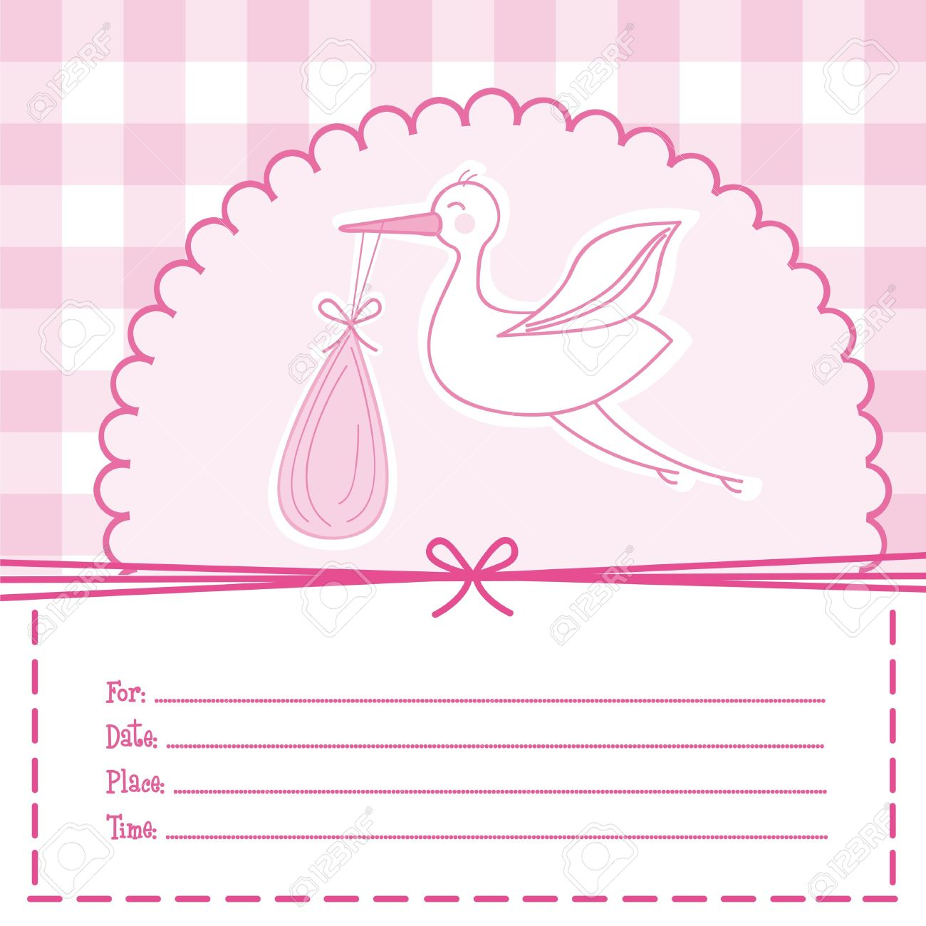 Pink Baby Card With Stork, Baby Shower. Illustration Stock Vector   12458943