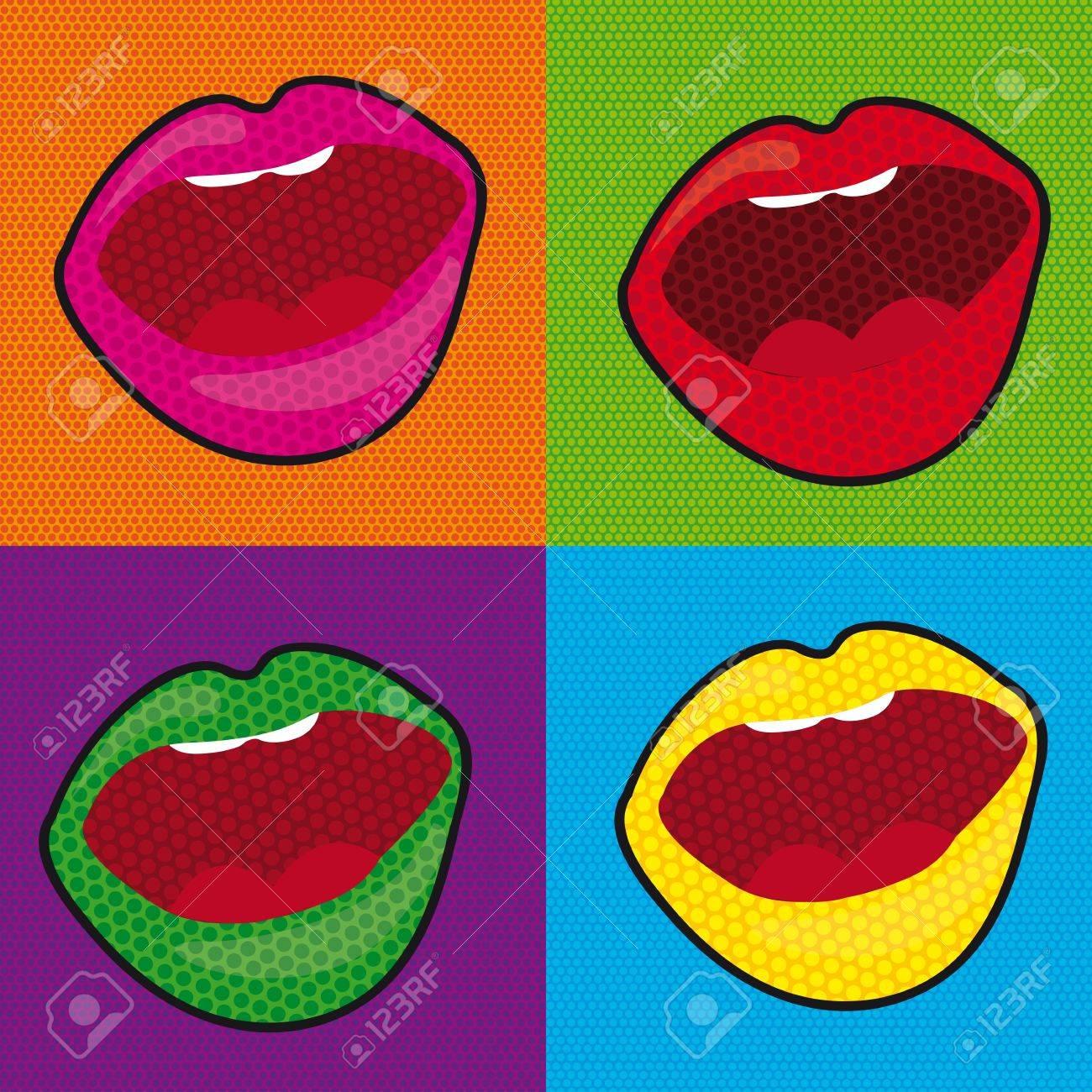 la boca del arte pop sobre fondo de azulejos de colores ilustracin foto de archivo