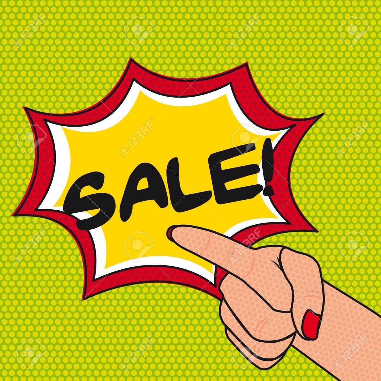 pop art sale with hands over green background. Stock Vector - 12459217