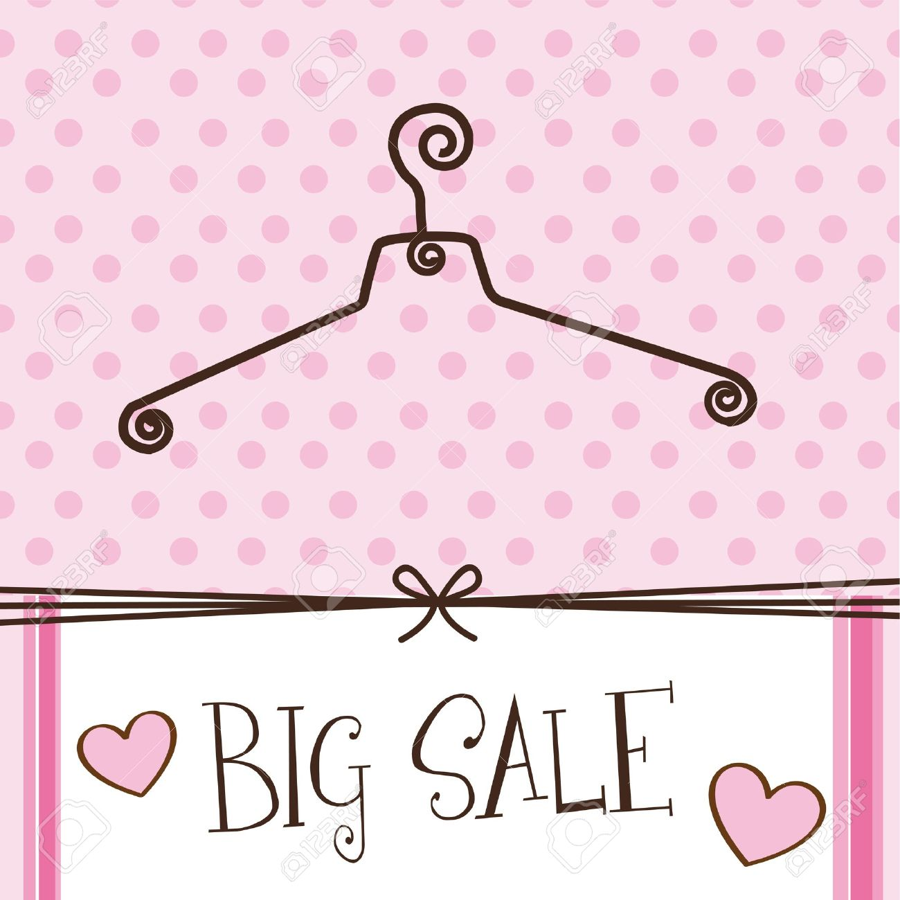 cute hanger with big sale text over pink background. Stock Vector - 12459355