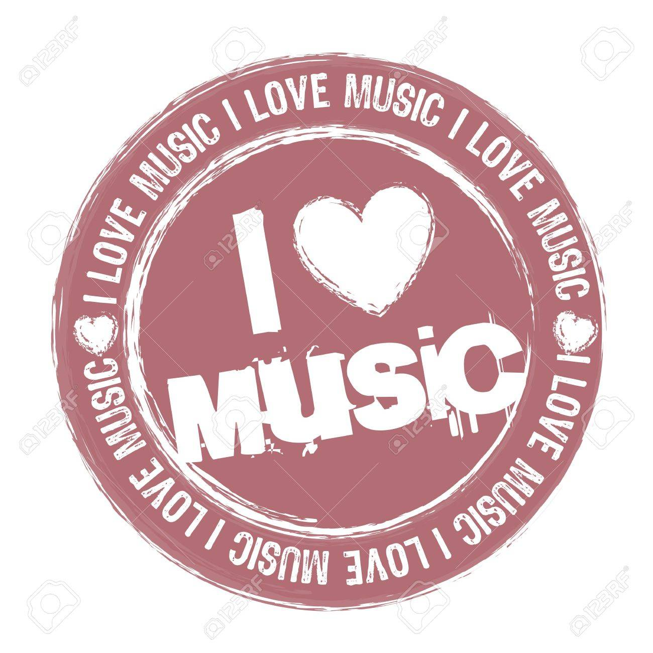 Pink I Love Music Stamp Isolated Over White Background Royalty Free