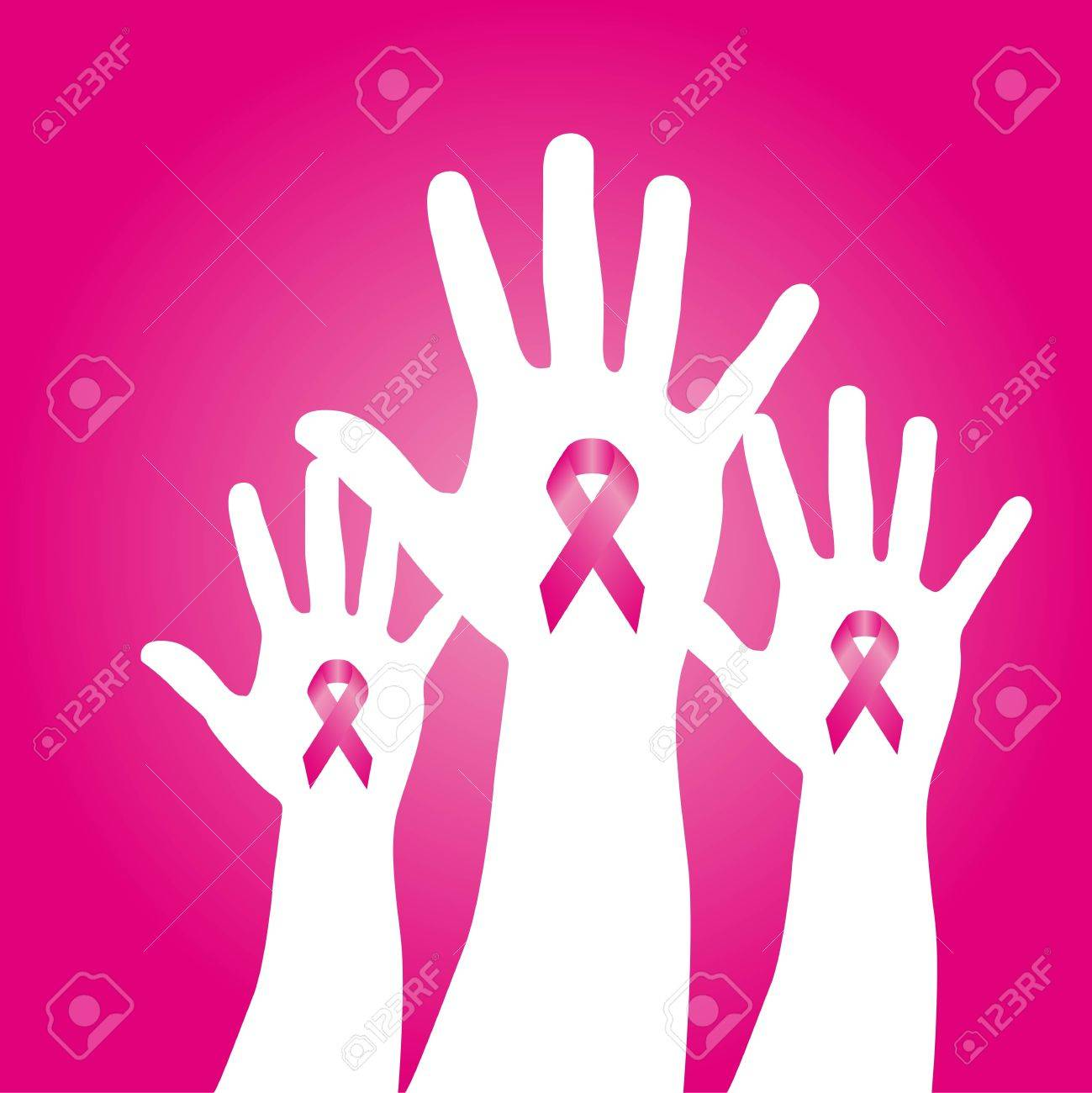 pink awareness ribbons over hands over pink background. Stock Vector - 12459562
