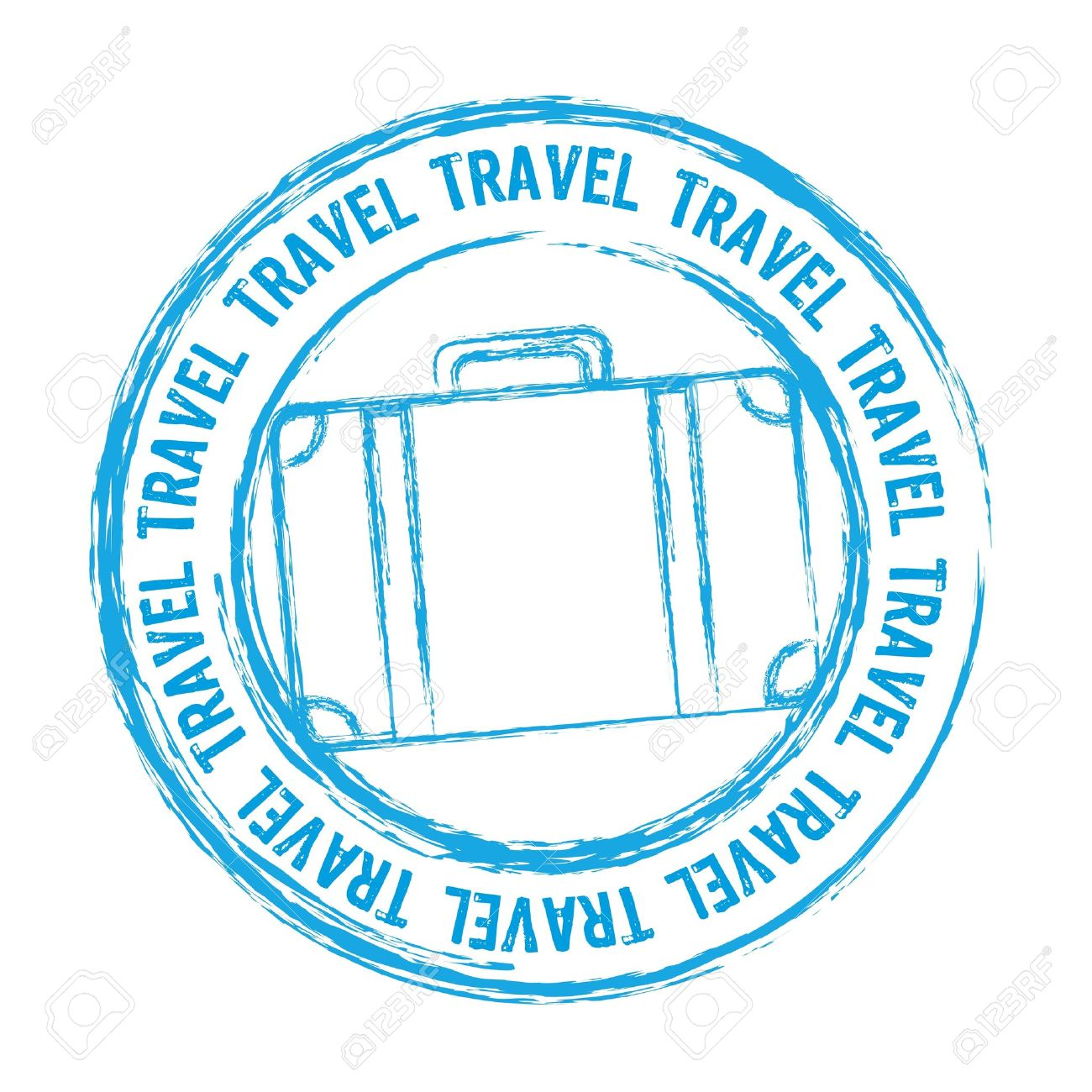 Blue Travel Stamp Isolated Over White Background Stock Vector