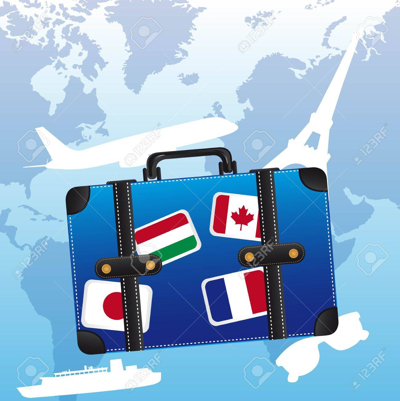 blue suitcase with flags over blue background. Stock Vector - 12459634