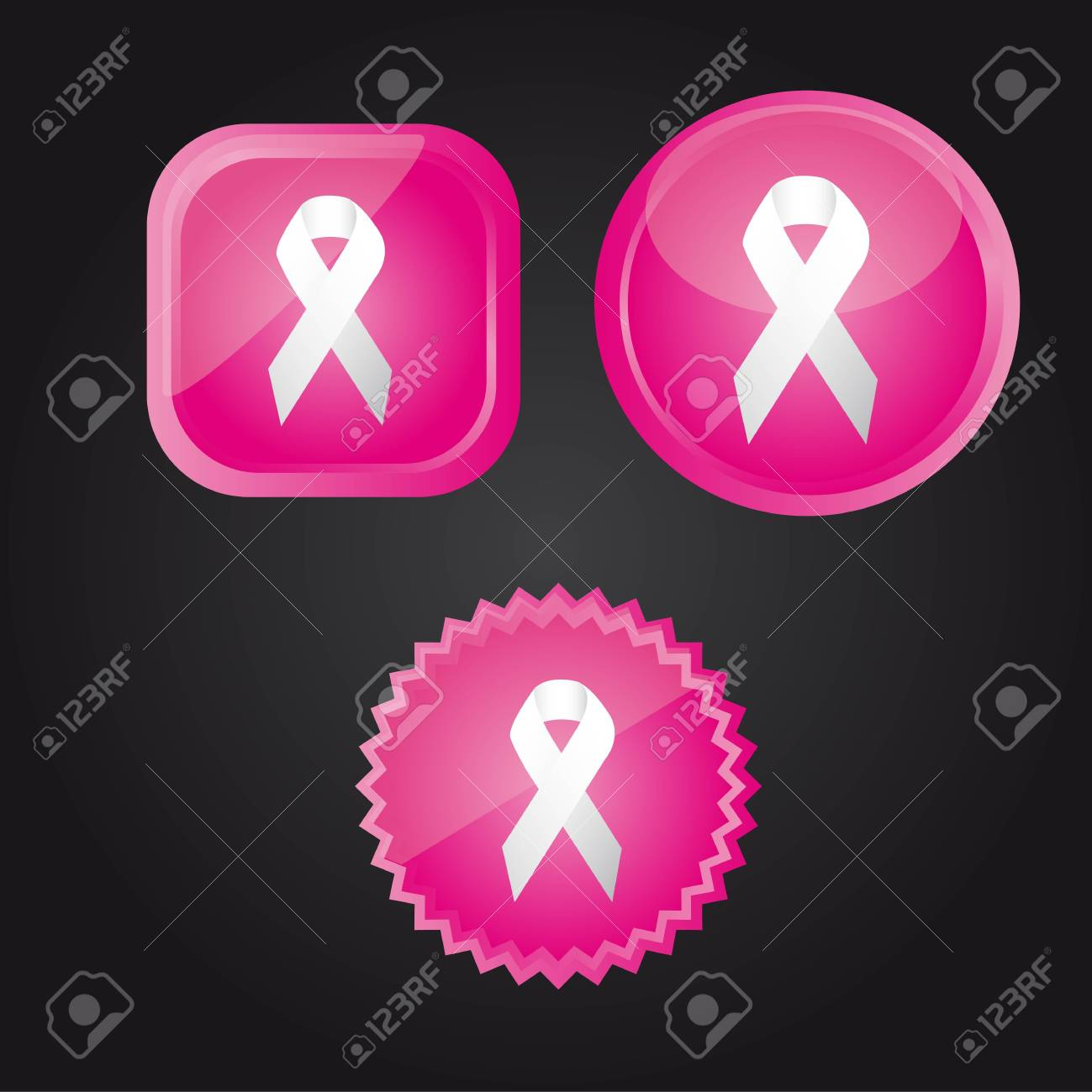 white awareness ribbons over pink buttons over black background. Stock Vector - 12459627