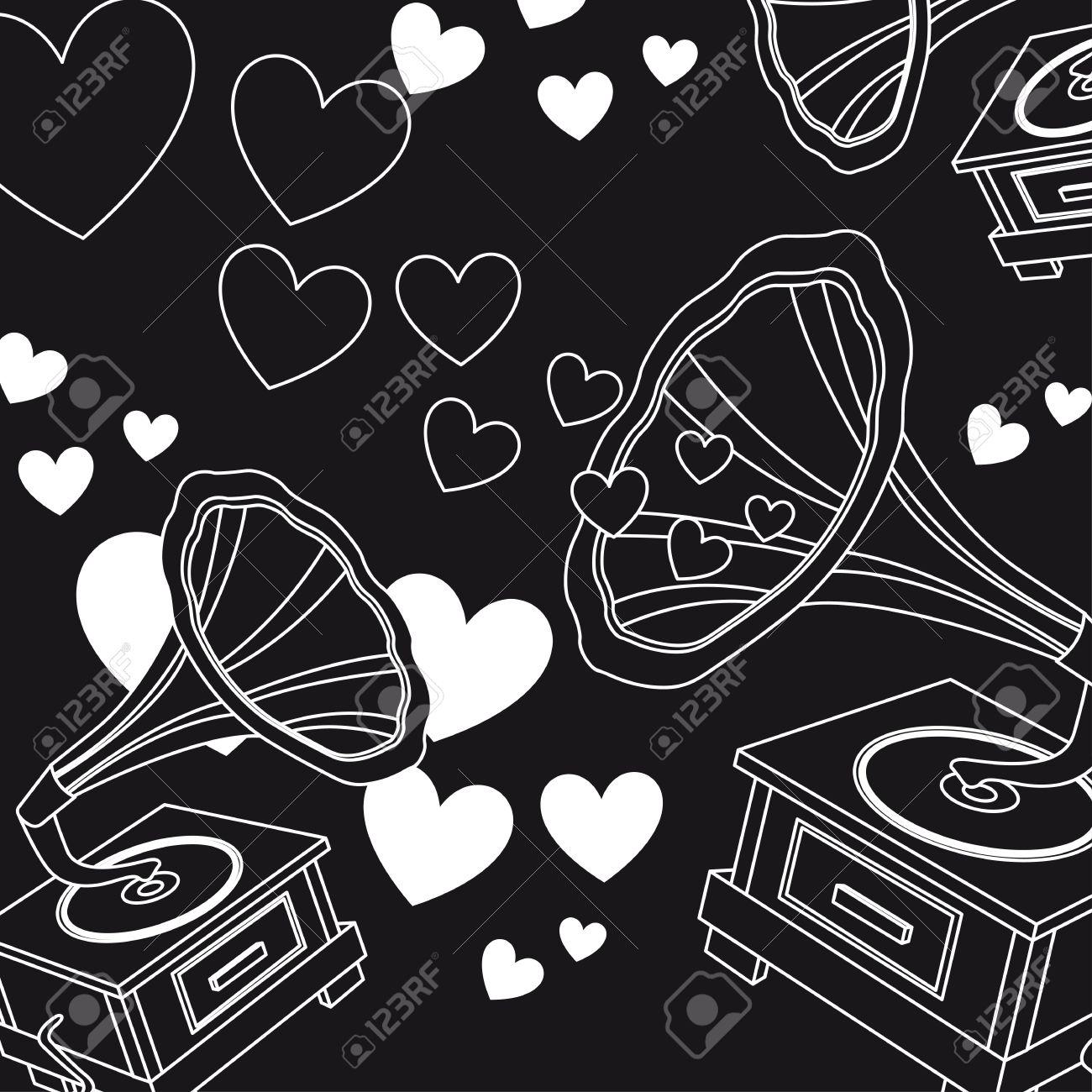El Amor En Blanco Y Negro De Música Corazón Vector De Illutration