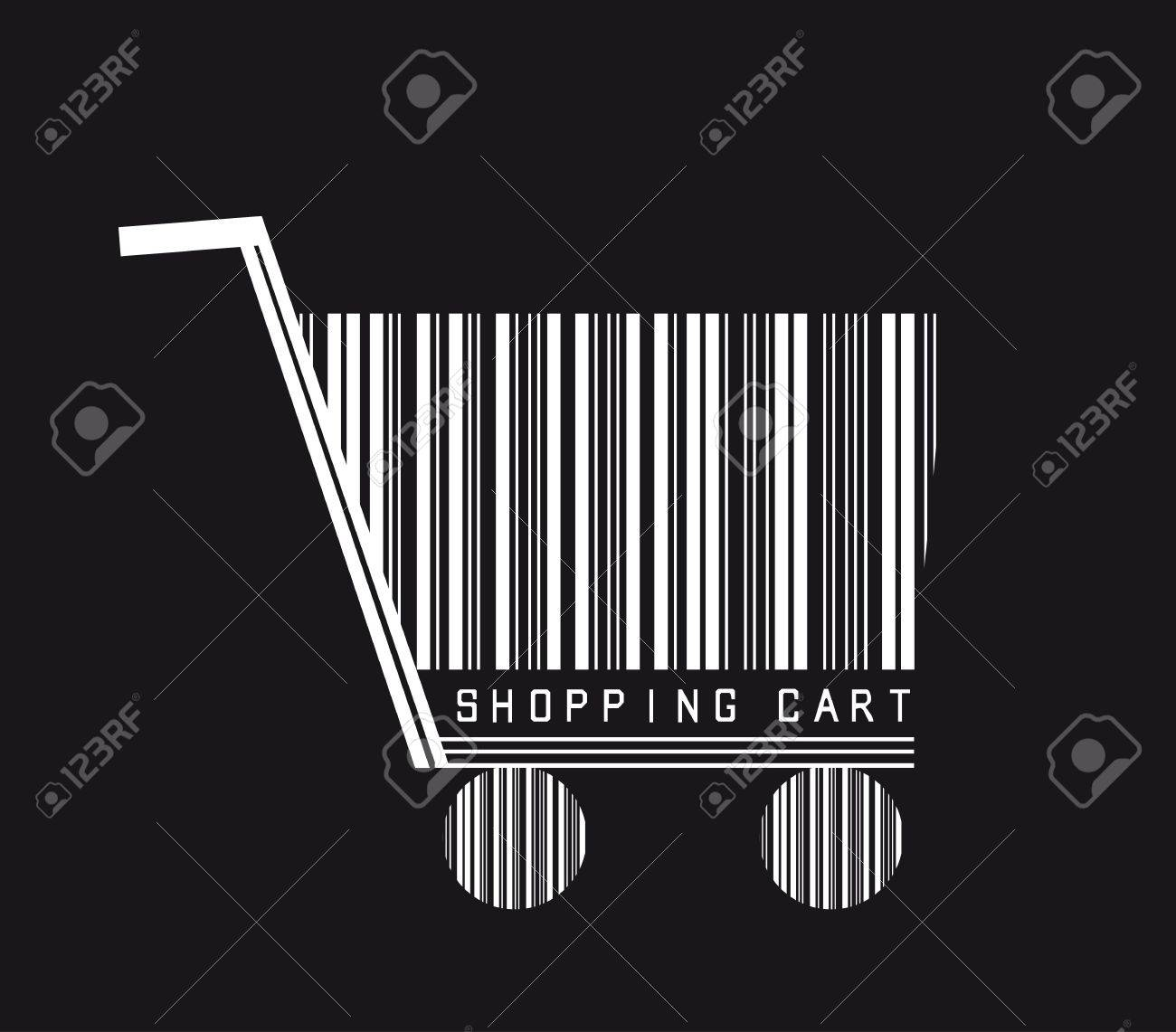 shopping cart isolated over black background, barcode. vector Stock Vector - 12755225