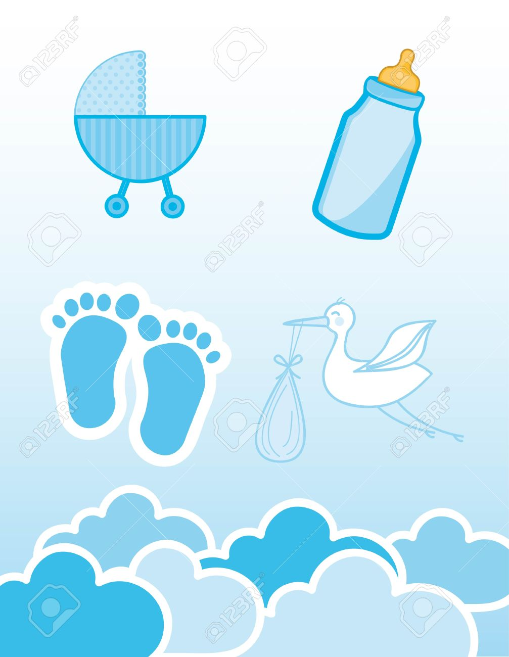 Baby Shower Boy Part - 30: Blue Icons Baby Shower, Boy. Vector Illustration Stock Vector - 12755881