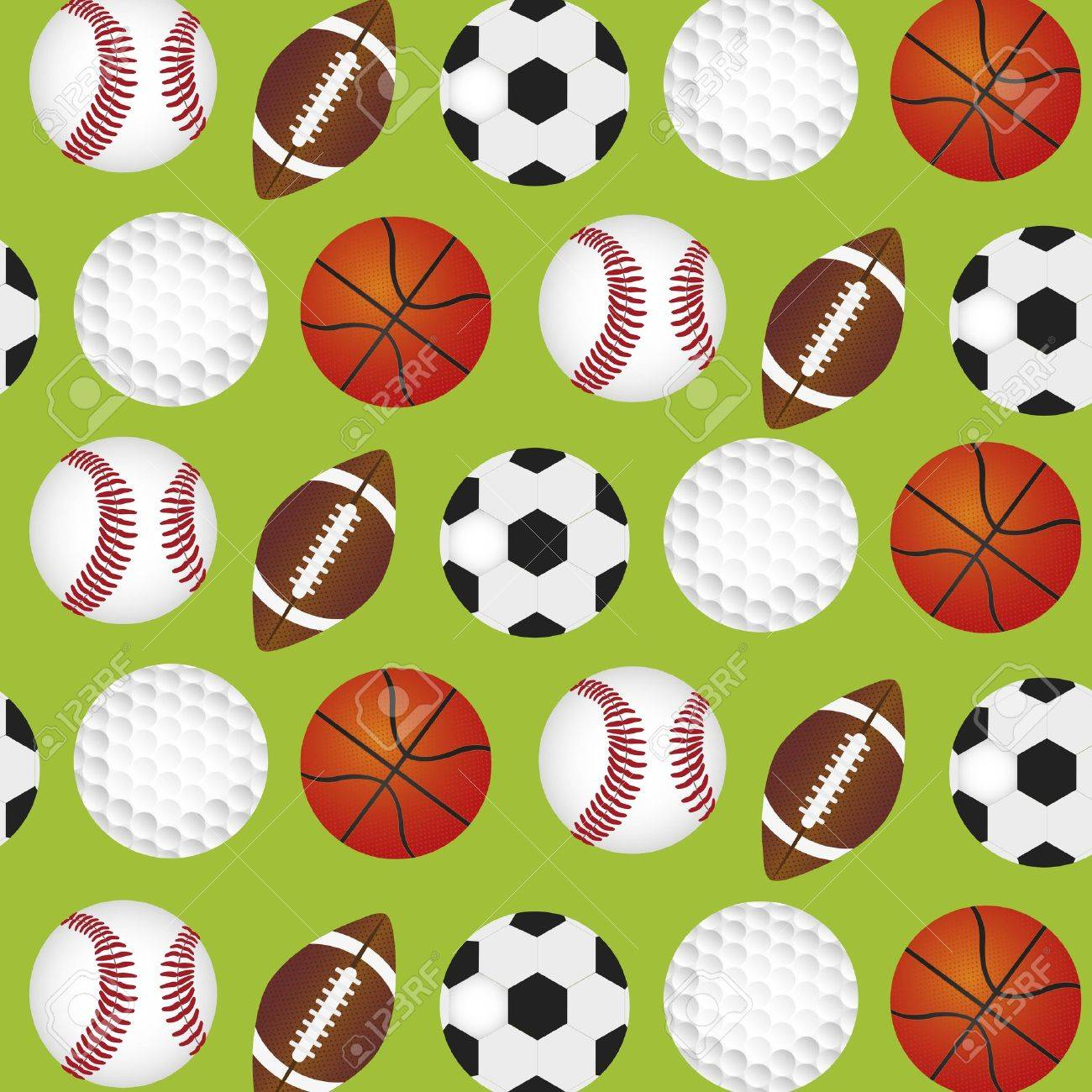 Sports Balls Background Over Green Pattern Stock Vector