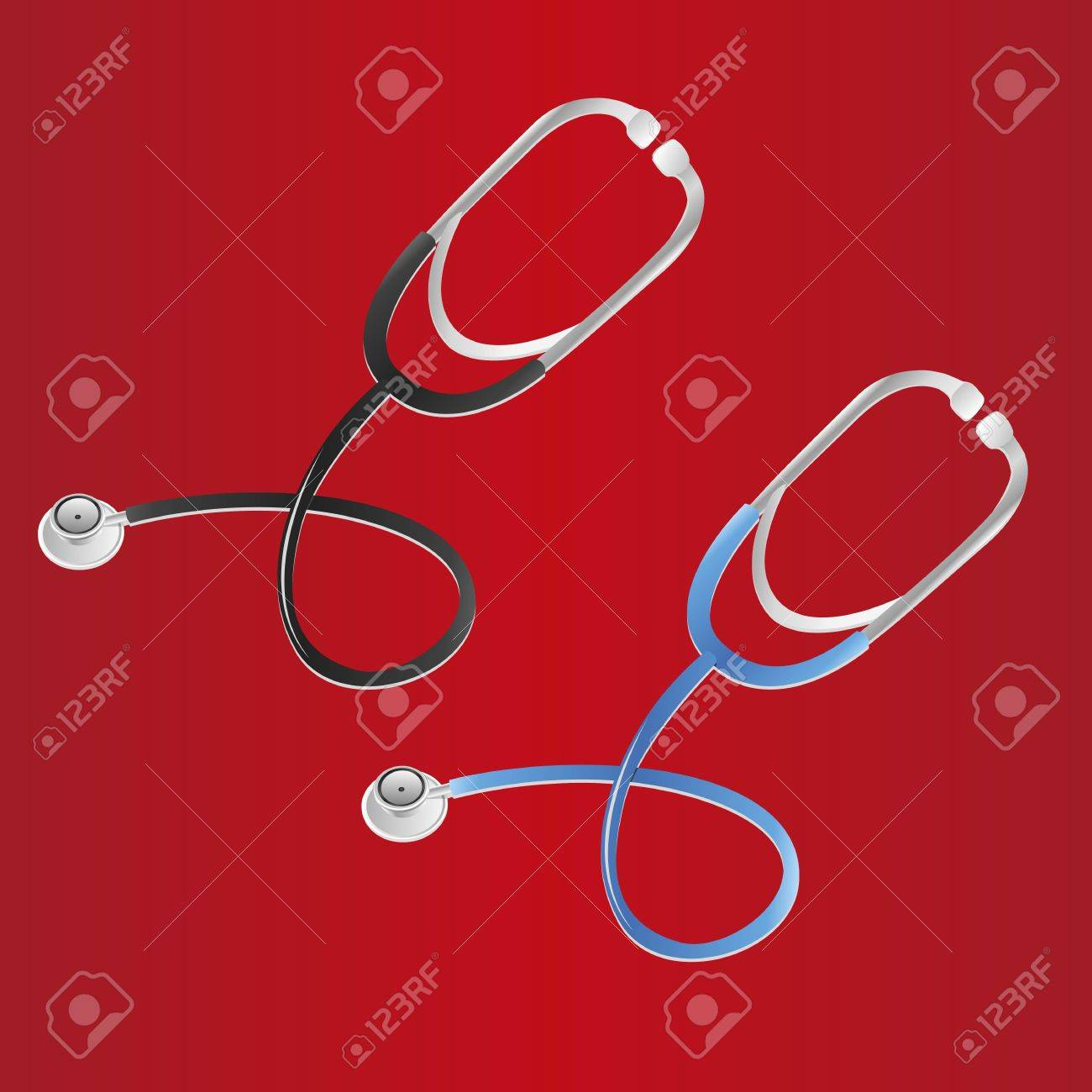 stethoscope set in two colors, over red backgound Stock Vector - 12756185