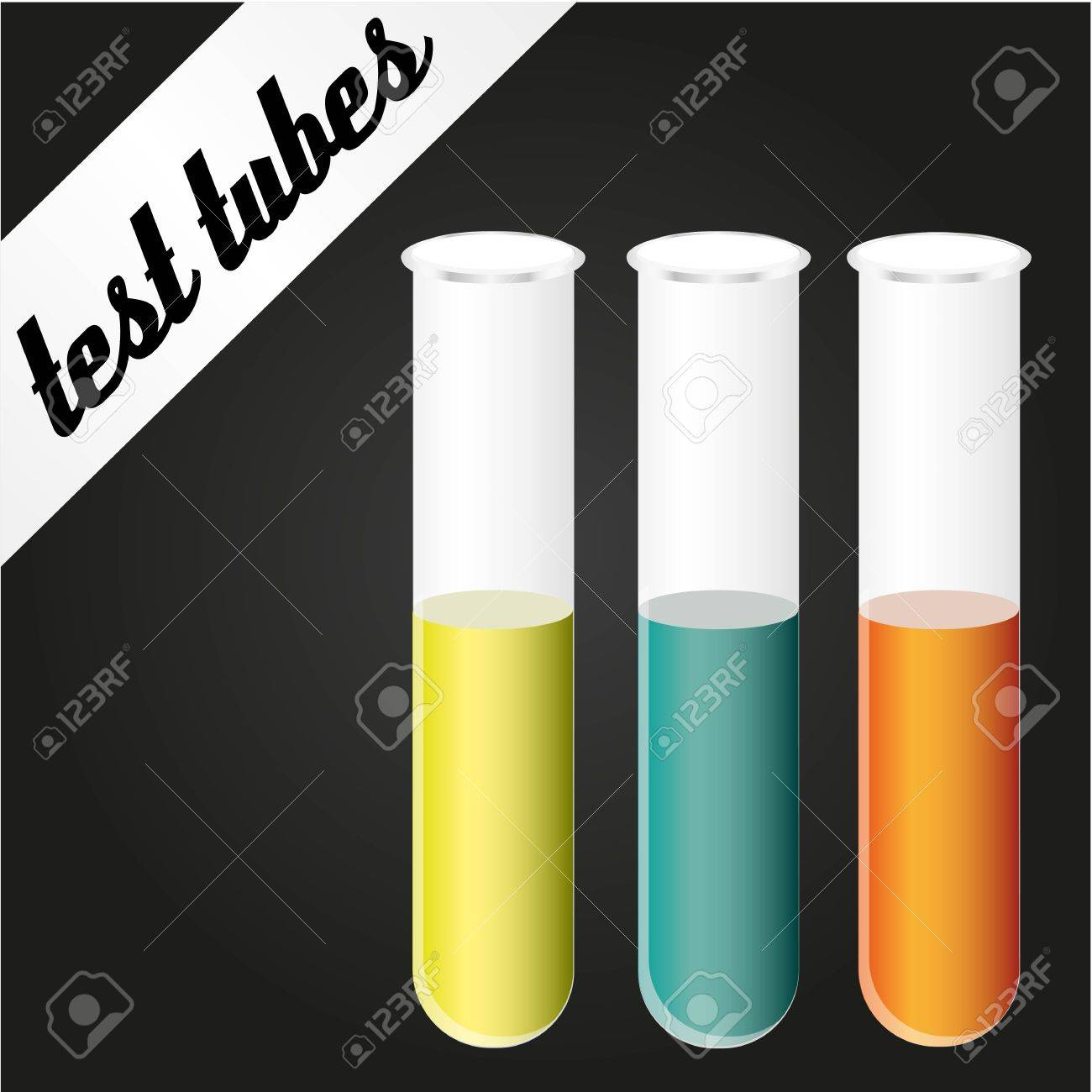 kit of basics test tubes over black background Stock Vector - 12756091
