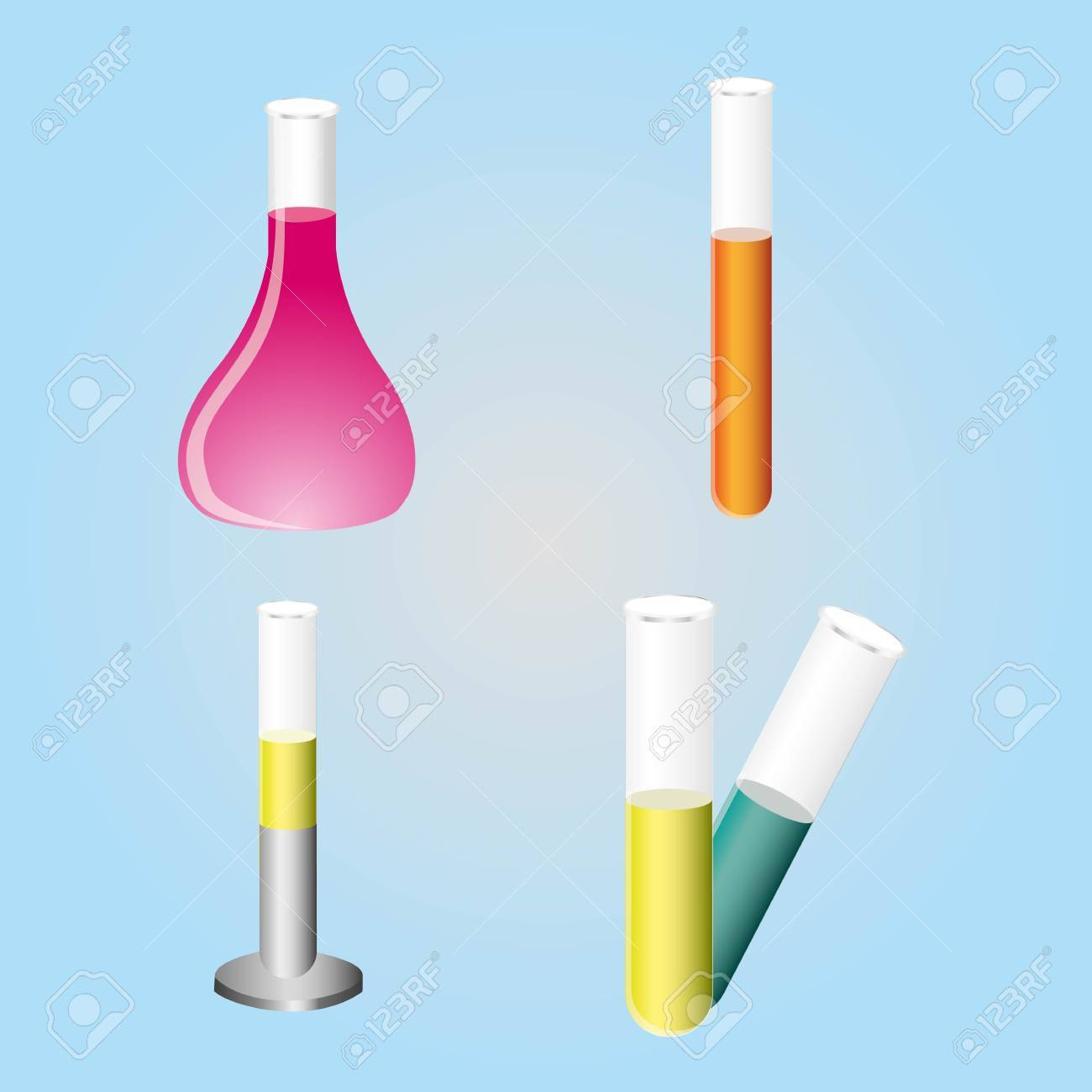 tests tube icons in color over blue blackground. Stock Vector - 12756093
