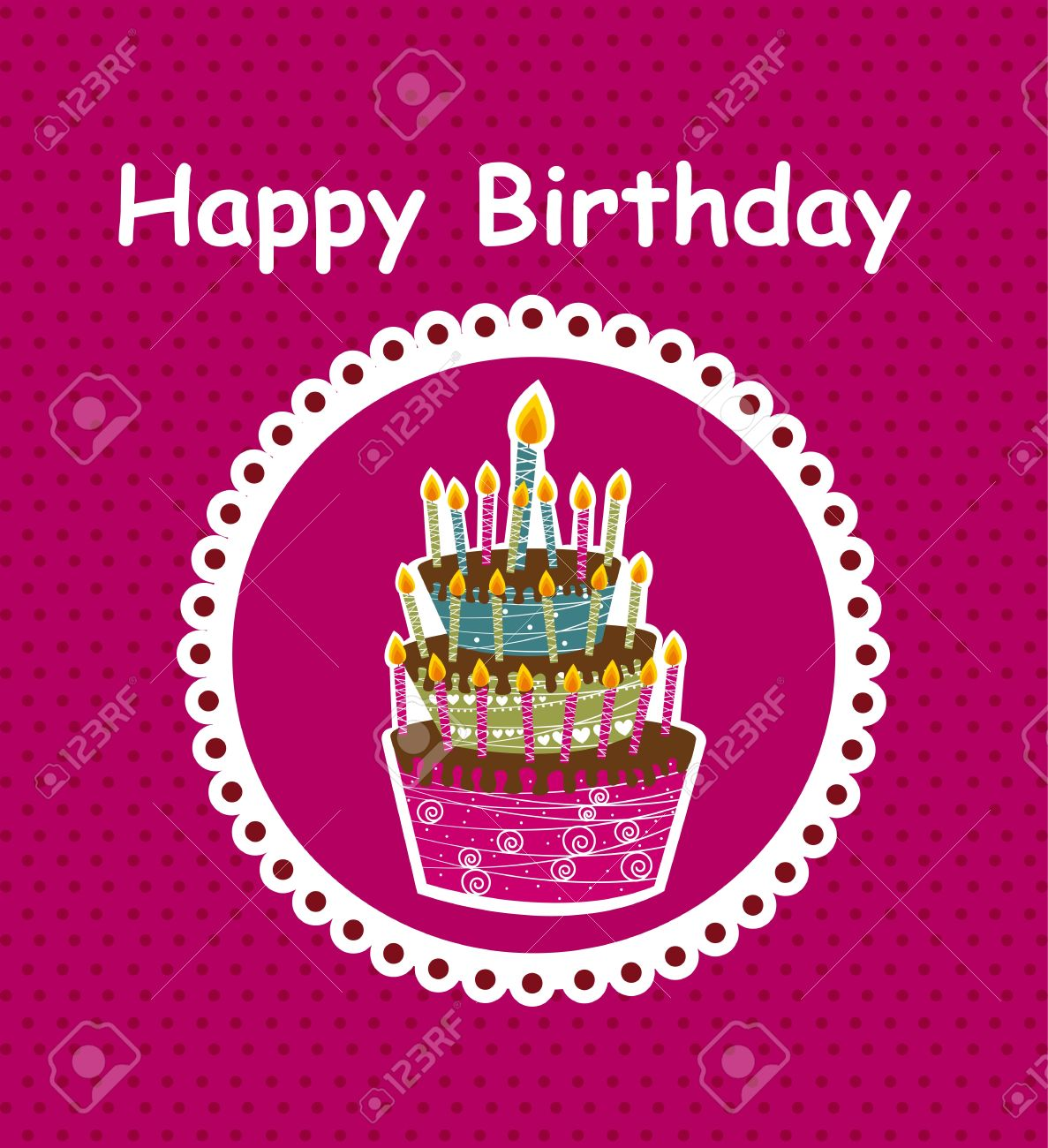 happy birthday  card with cake background Stock Vector - 12939645