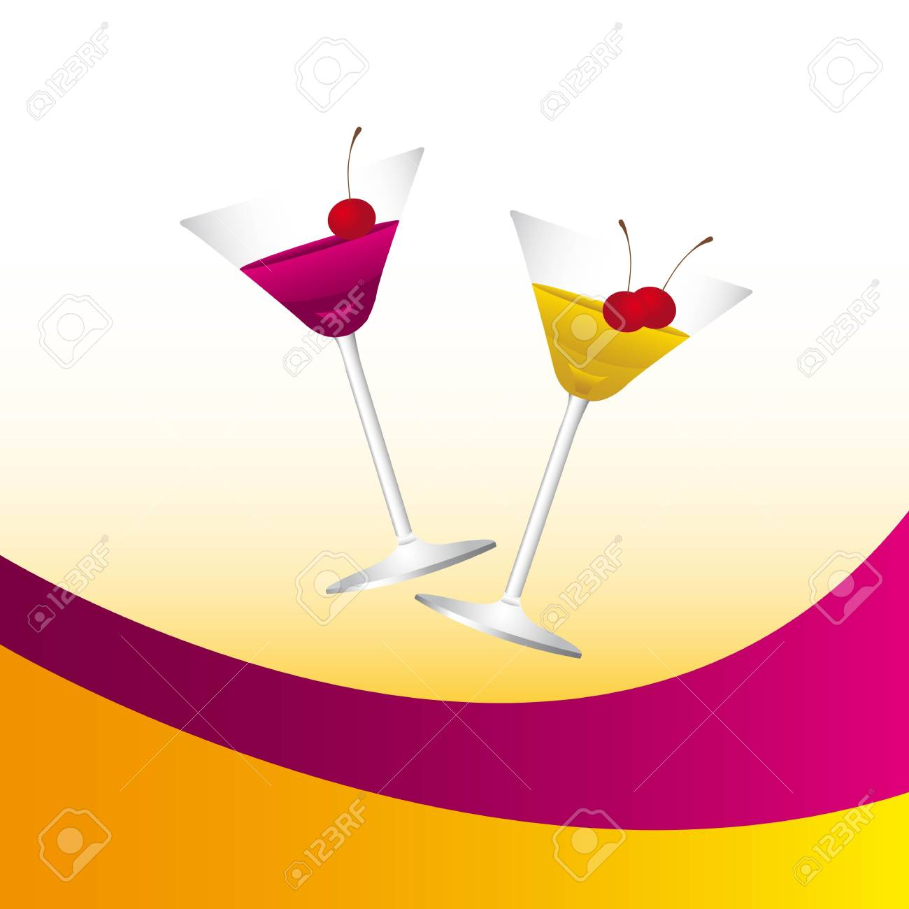Champagne cups on colors background Stock Vector - 12939756