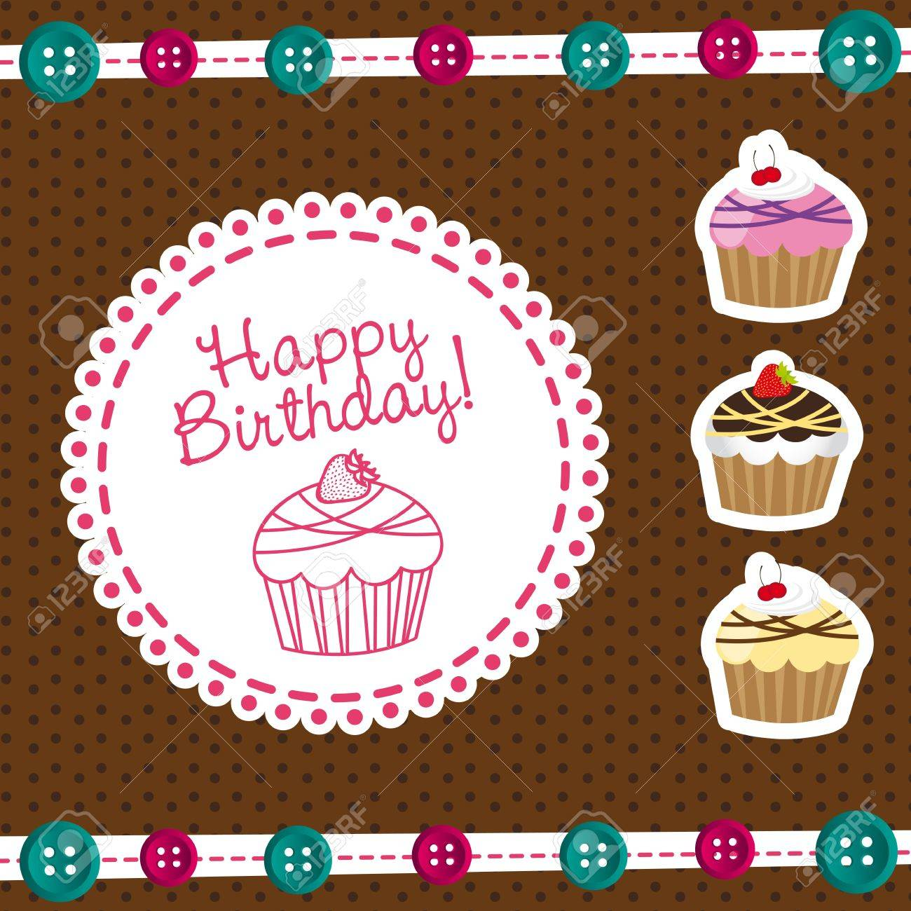 Cute Cakes With Label Happy Birthday Vector Illustration Royalty