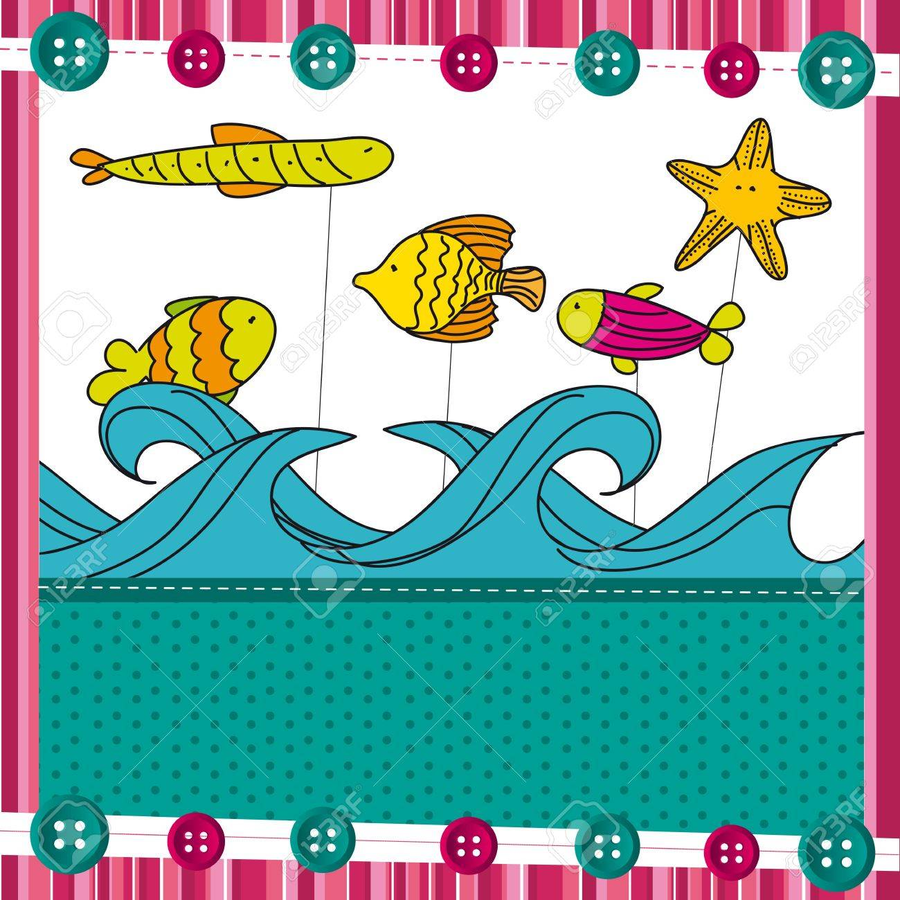 fish over sea, cute background. vector illustration Stock Vector - 13032633