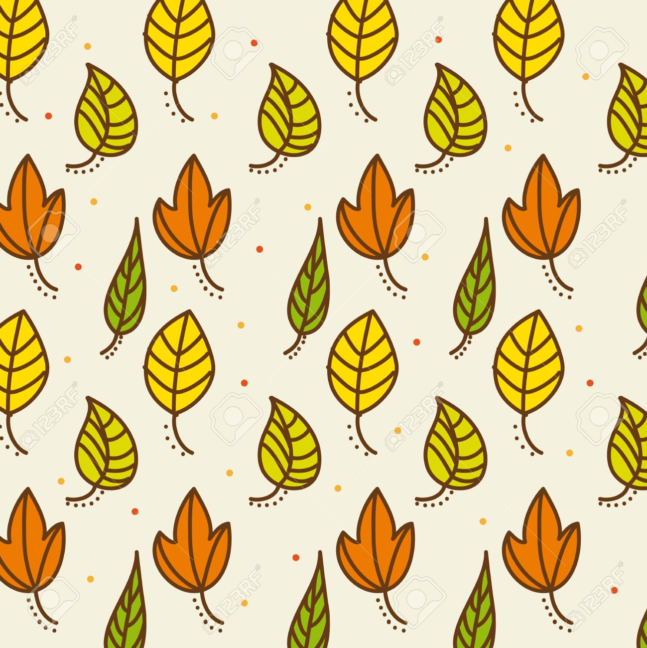 Cute Autumn Leaves Over Beige Background Vector Illustration Royalty Free Cliparts Vectors And Stock Illustration Image 13032600