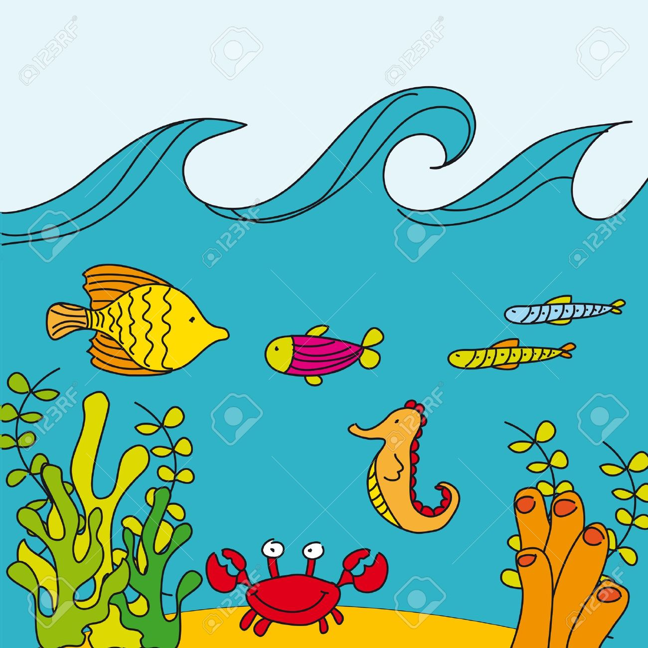Fish tank drawing pictures - Vector Cute Reef With Marine Animals Hand Drawing Vector