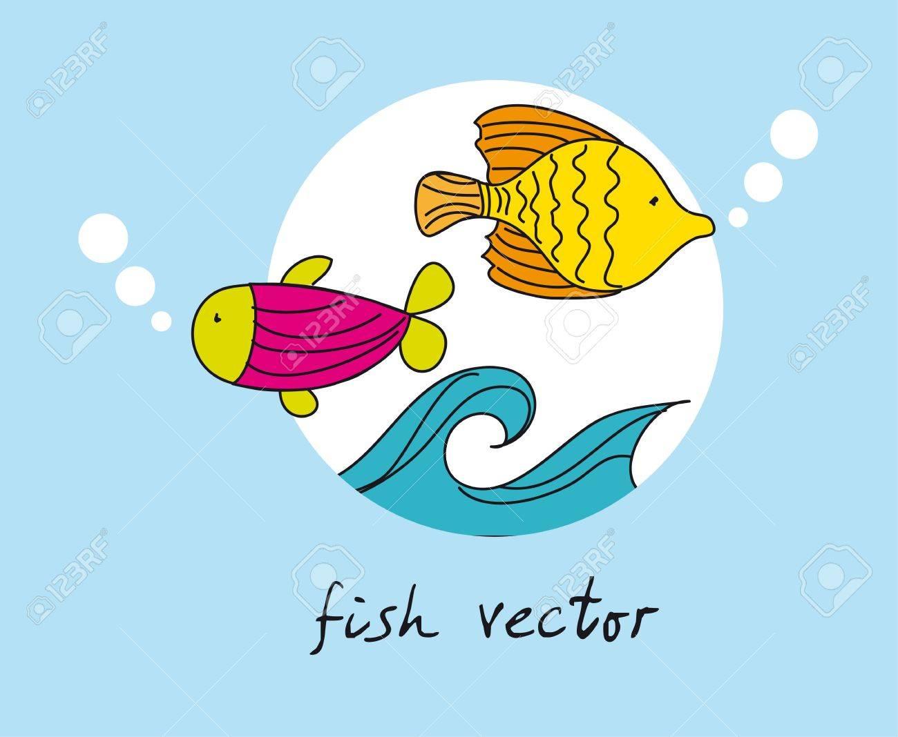 青い背景上のかわいい魚。ベクトル イラスト ロイヤリティフリー