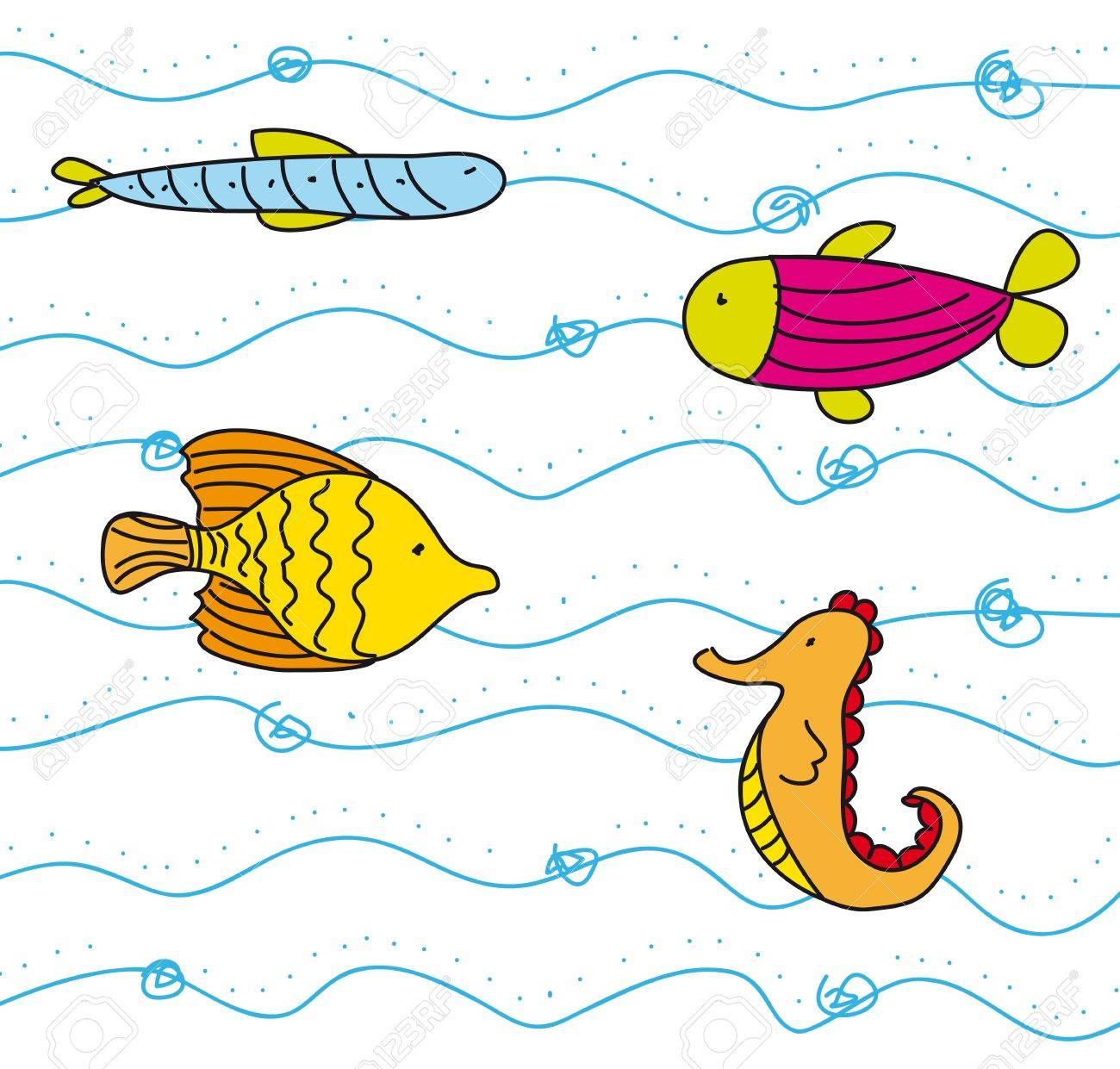 cute fish into sea, hand drawing. vector illustration Stock Vector - 13032586