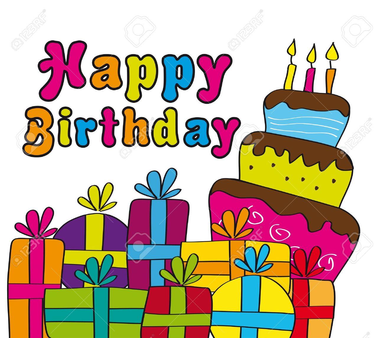tarjeta de feliz cumpleaos con regalos y pastel ilustracin vectorial foto de archivo
