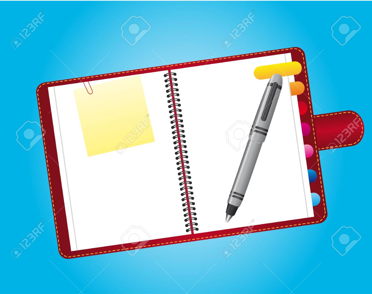 notebook with papers and pen over blue background. vector Stock Vector - 13105828