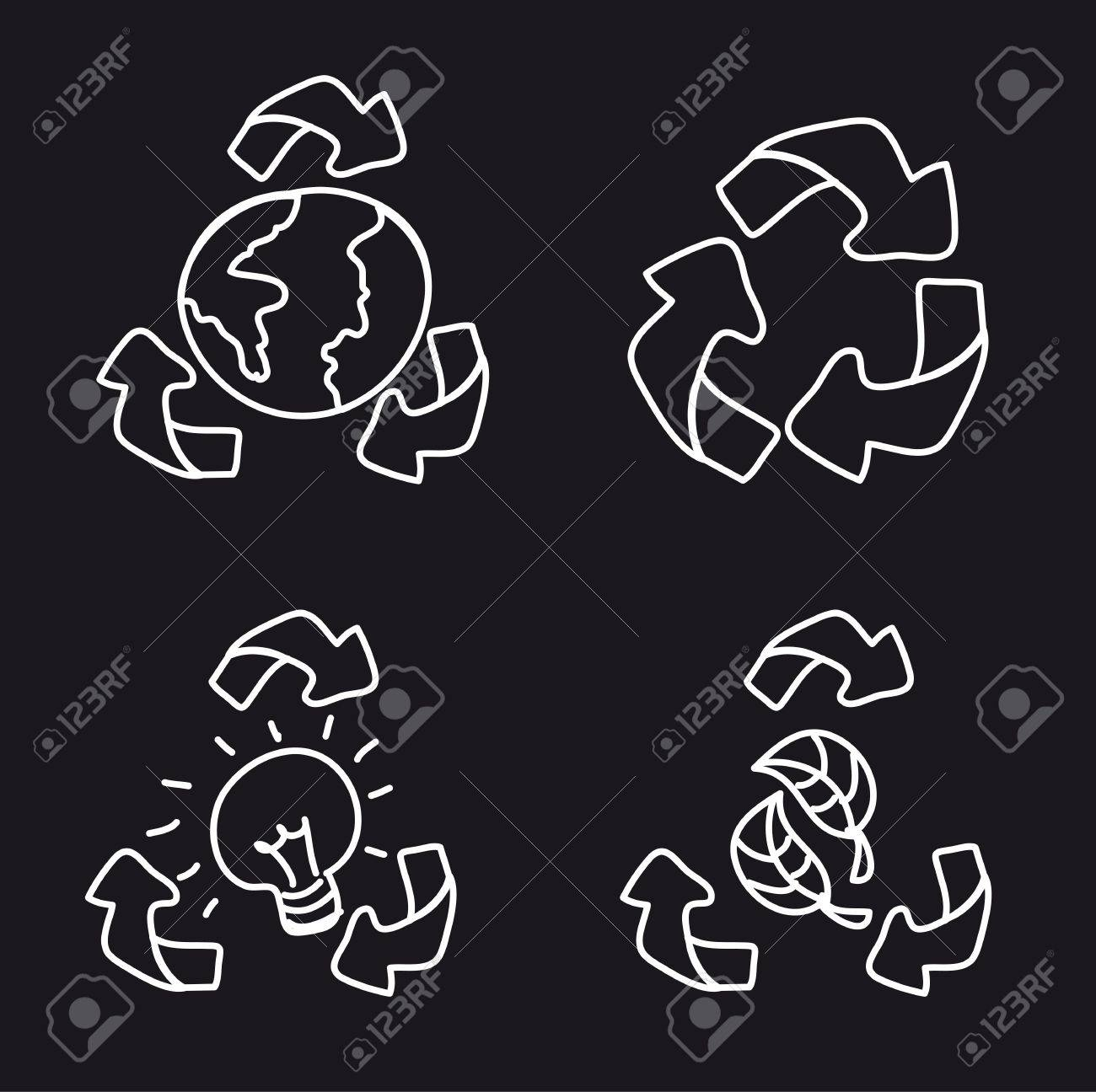 black and white recycle sign isolated. vector illustration Stock Vector - 13105831