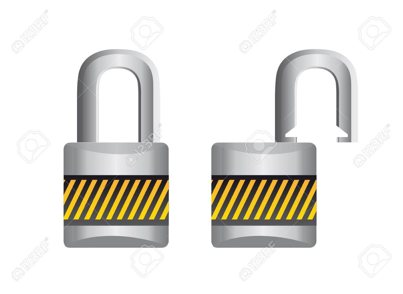 padlock open and closed isolated over white background. vector Stock Vector - 13215896