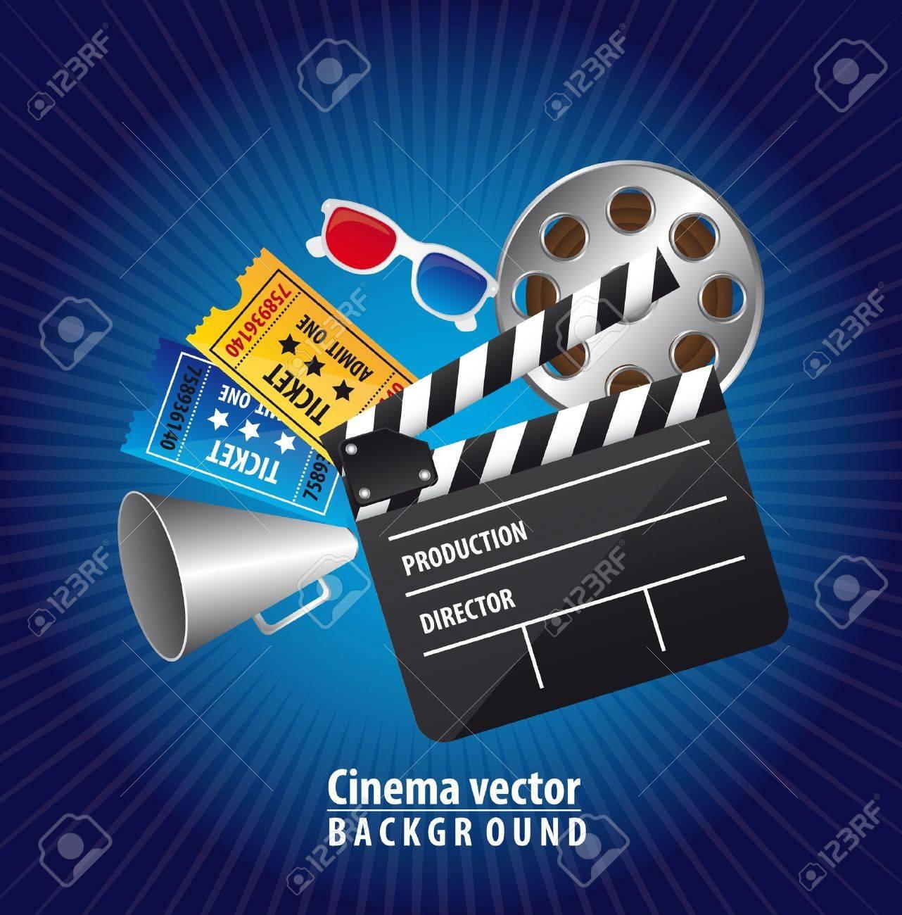 cinema elements over blue background. vector illustration Stock Vector - 13216387