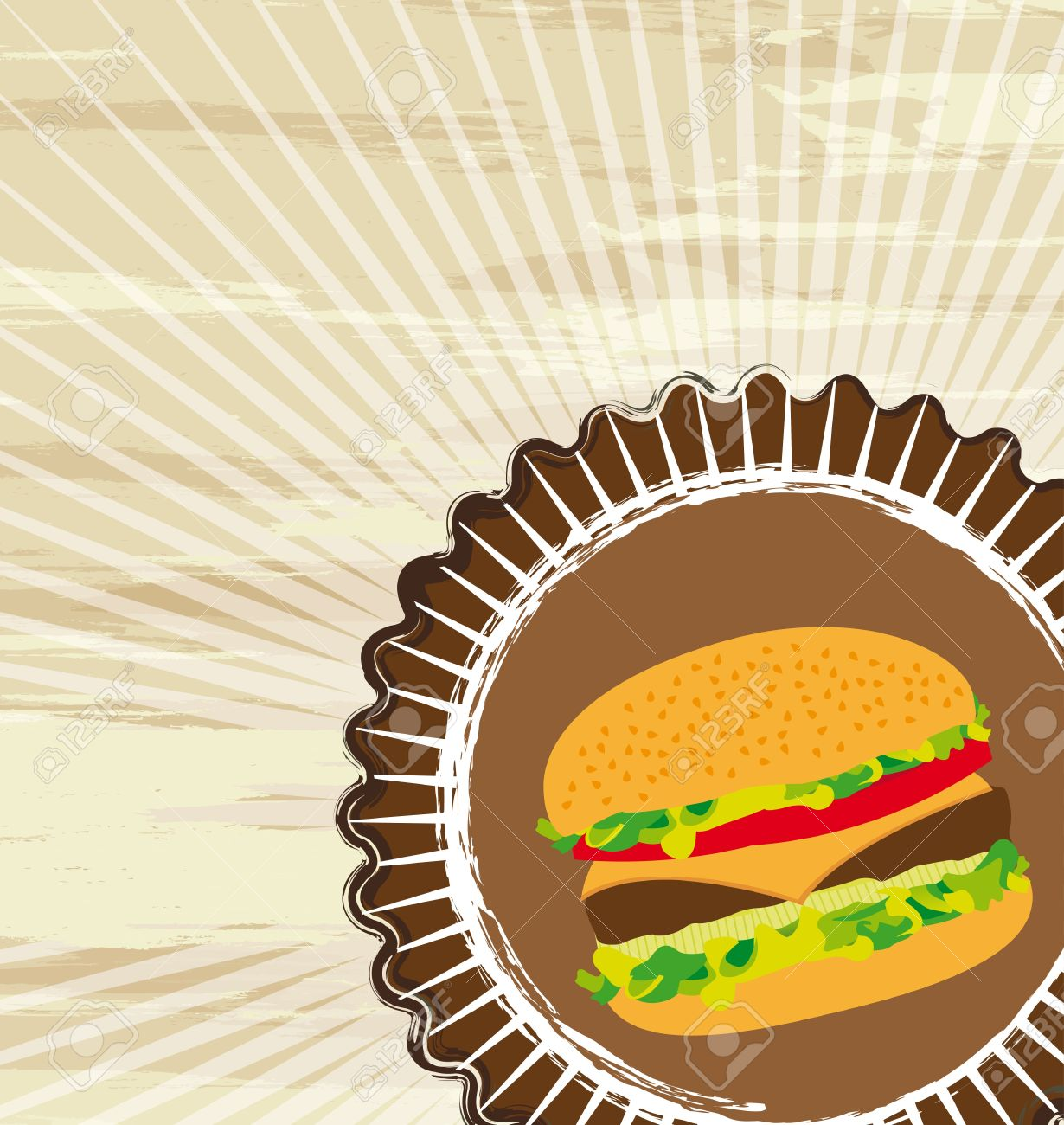 grunge hamburger over brown background, fast food. vector illustration Stock Vector - 13216434