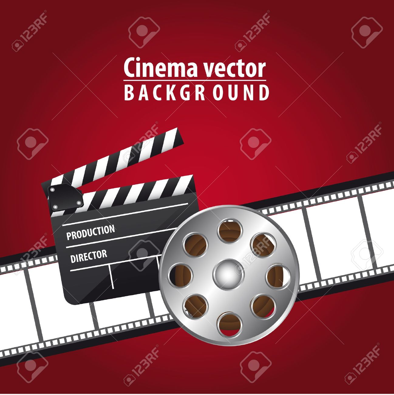 clapper board with movie film and  film stripe over red background. vector Stock Vector - 13216367