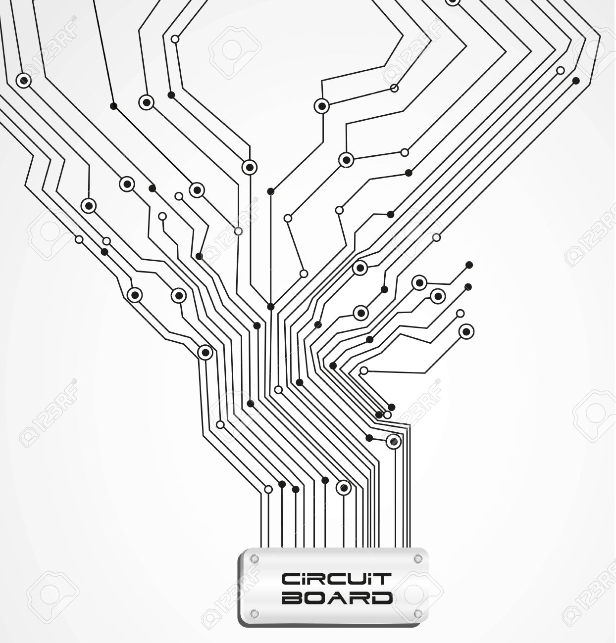 Circuit Board On White Background Illustration Royalty Free Cliparts ...