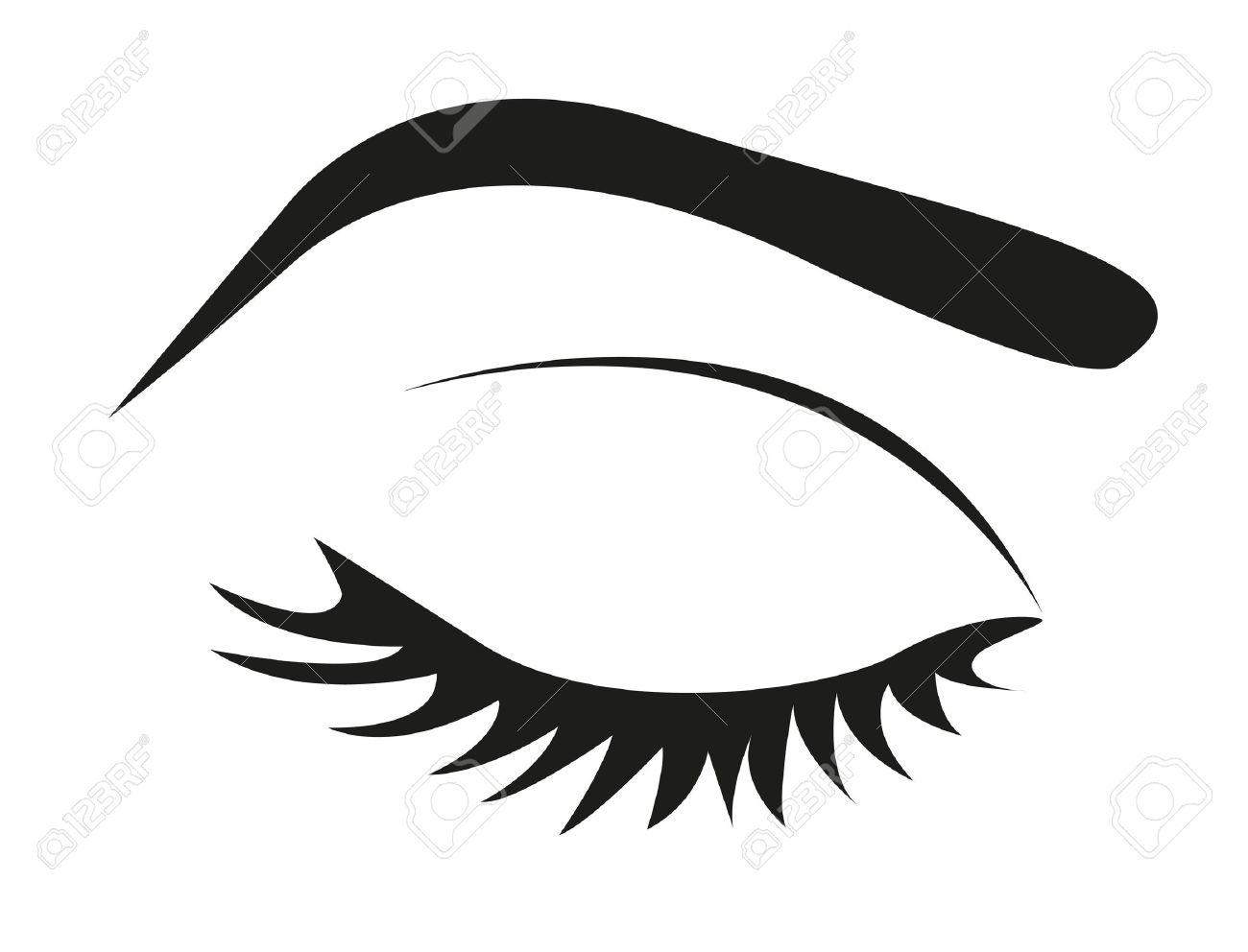 Silhouette Of Eye Lashes And Eyebrow Closedillustration Royalty