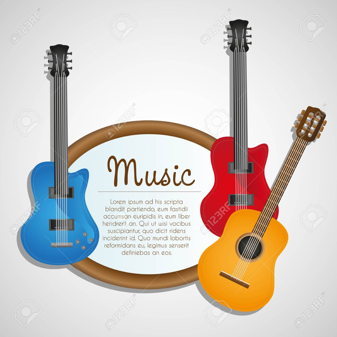 Background Electric And Acoustic Guitar On White Background Royalty