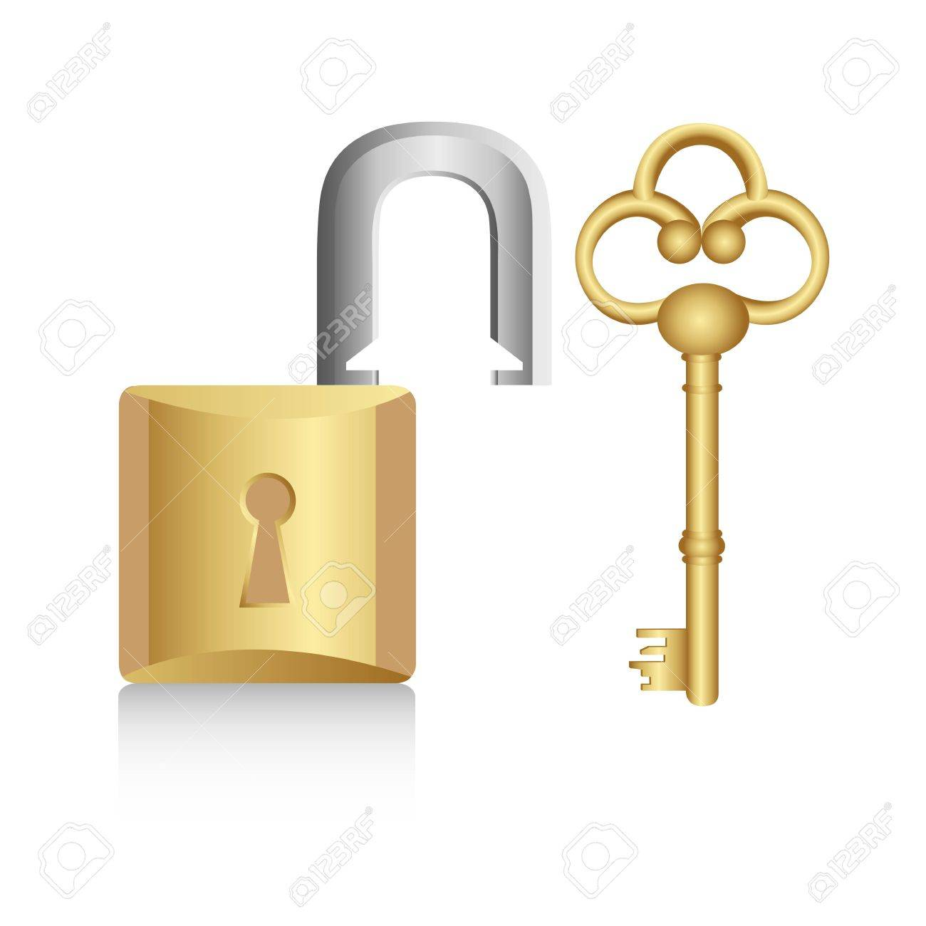 old golden key with gold lock isolated on white background Stock Vector - 13447032