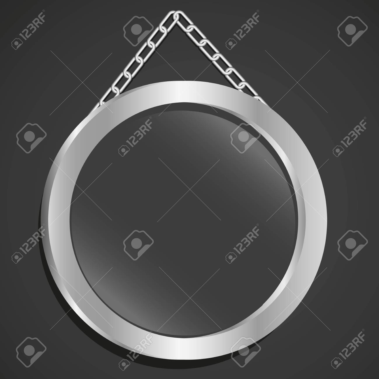 metal frame with glass and chain on a black background Stock Vector - 13447275