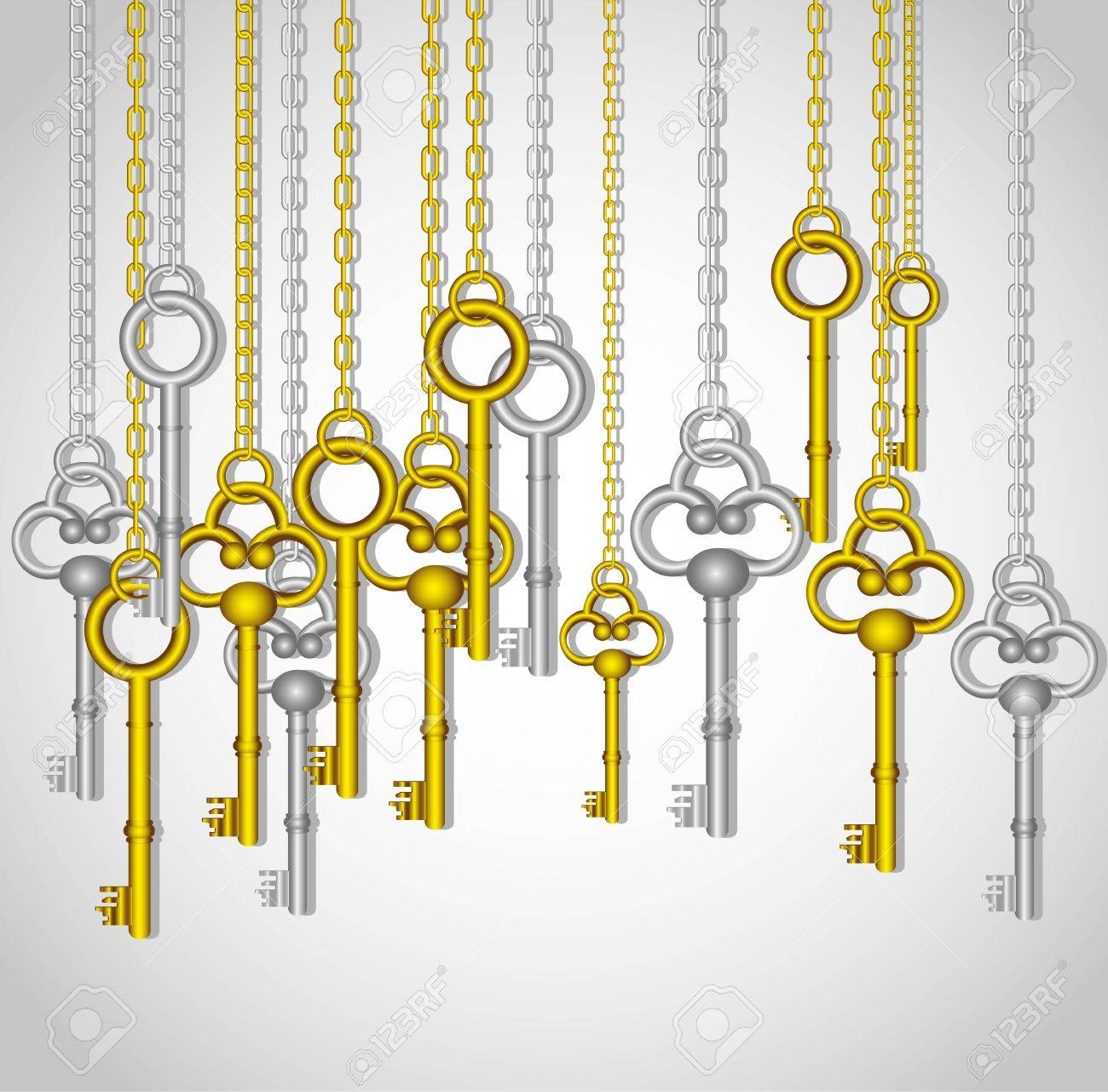 old keys hanging from gold and silver link chain Stock Vector - 13448207