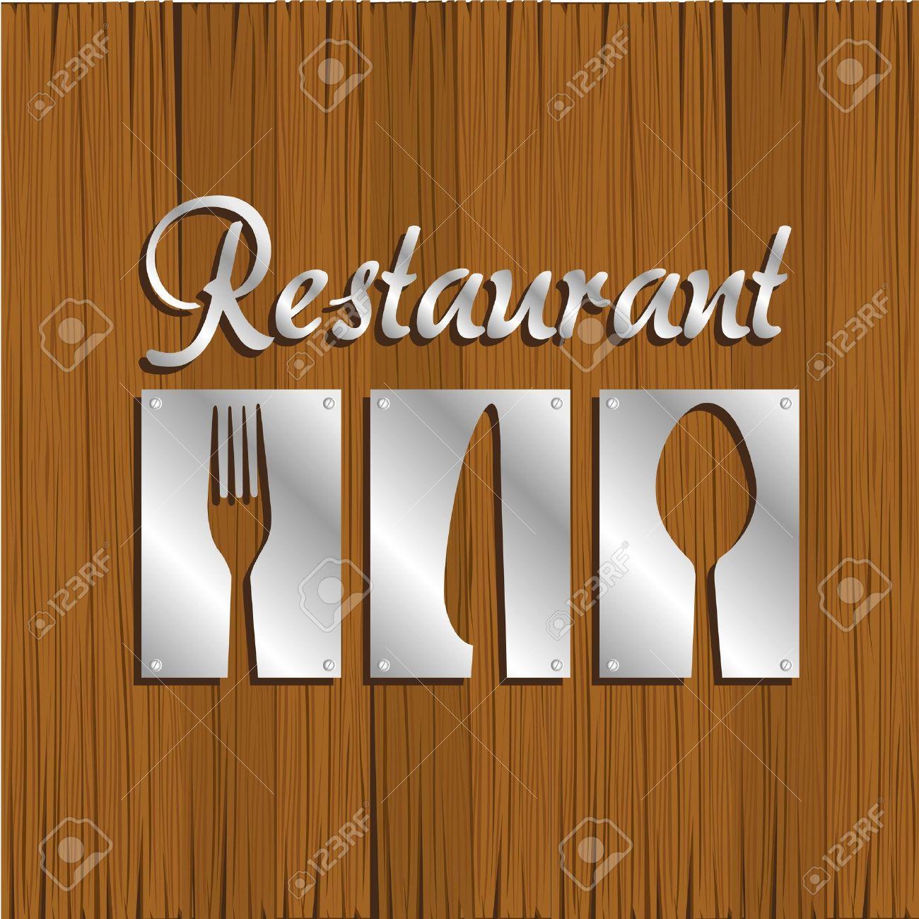 Restaurant Background Restaurant Background Silver Metal On Wood Vector Illustration