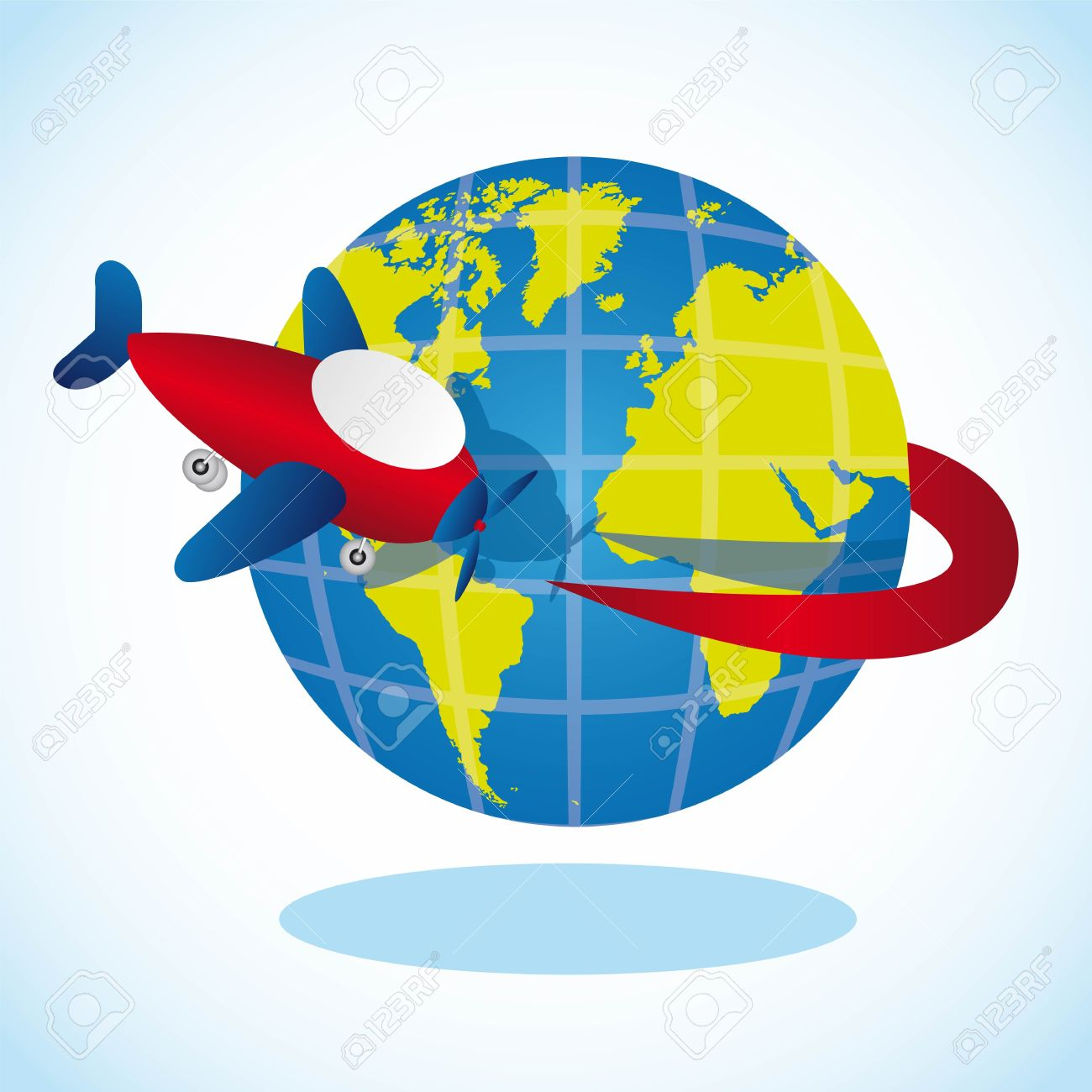 plane going around the planet, vector illustration Stock Vector - 13563545