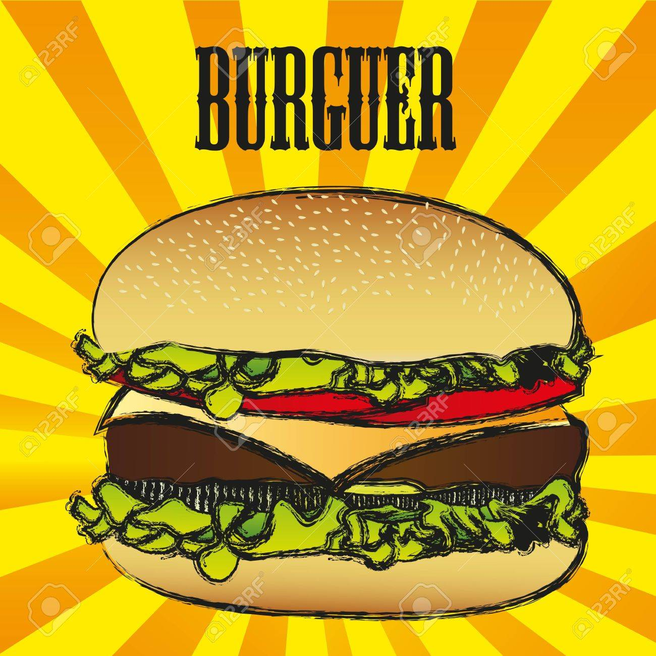 illustration of a hamburger with a grunge edge, on a background of lines - 13650665