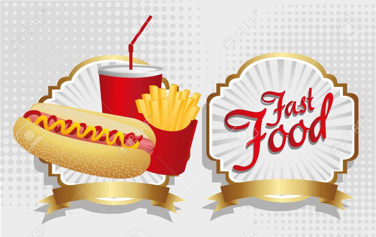 hot dog combo with french fries and soda, on a label Stock Vector - 13649840