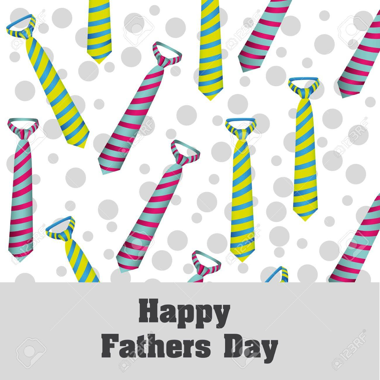 Happy Father's Day, holiday card with ties and dots Stock Vector - 13774468