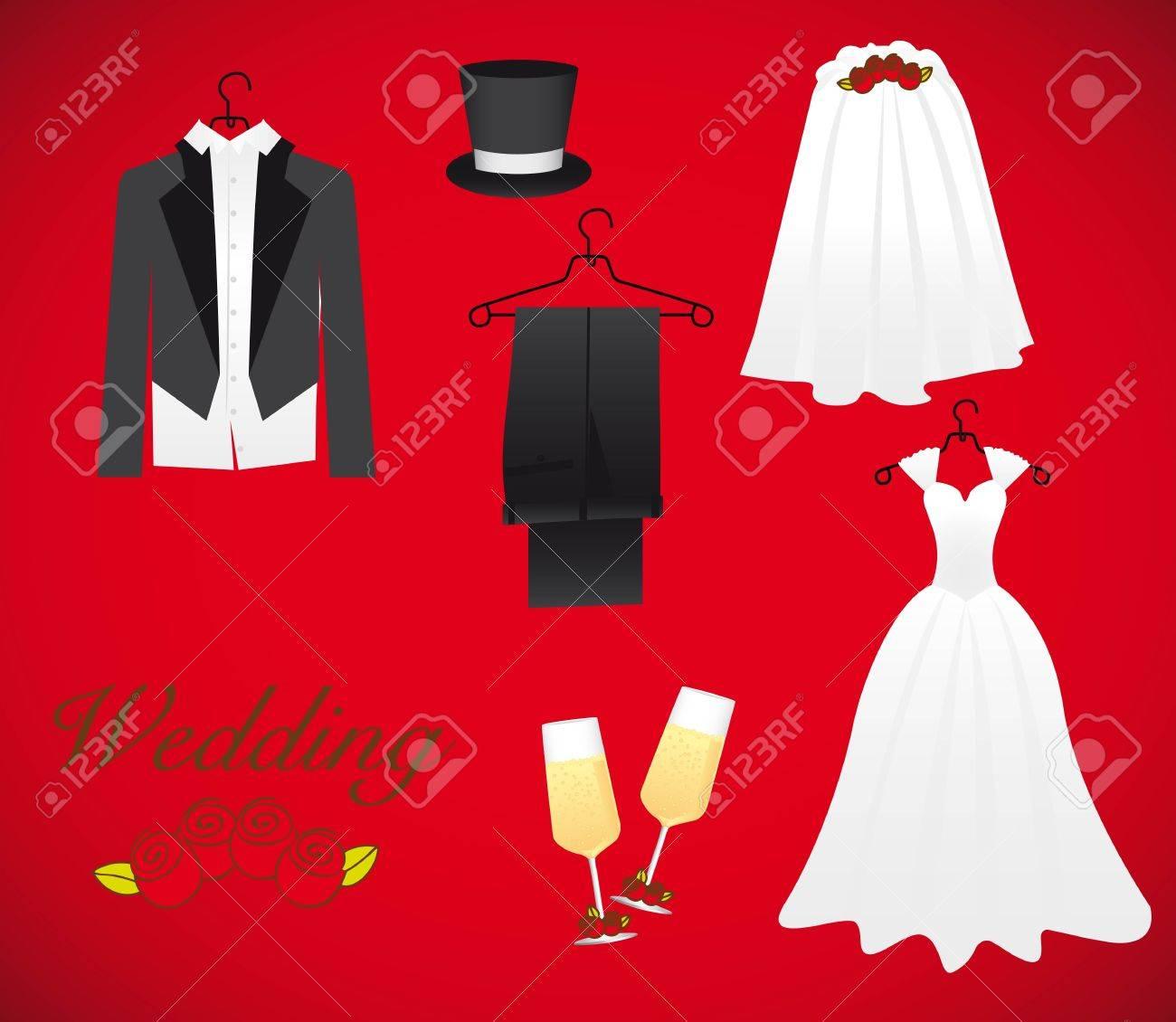 Objekte Der Ehe Einschliesslich Hochzeitskleid Brautigam Kleid