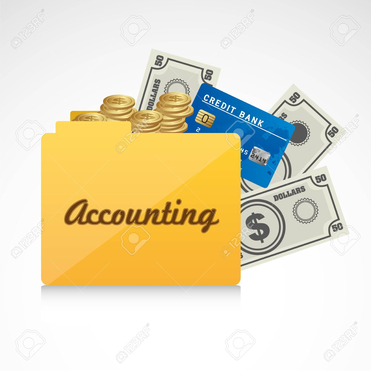 Icon Of Accounts Folder Accounting Reporting Vector Illustration Stock