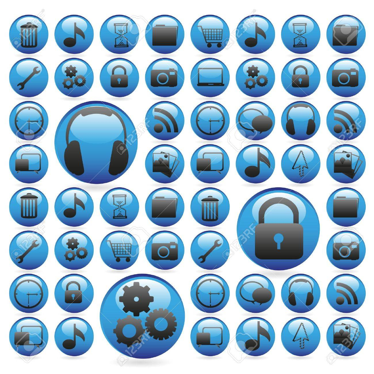 gel buttons in blue, outlined with white icons, vector illustration Stock Vector - 14044221