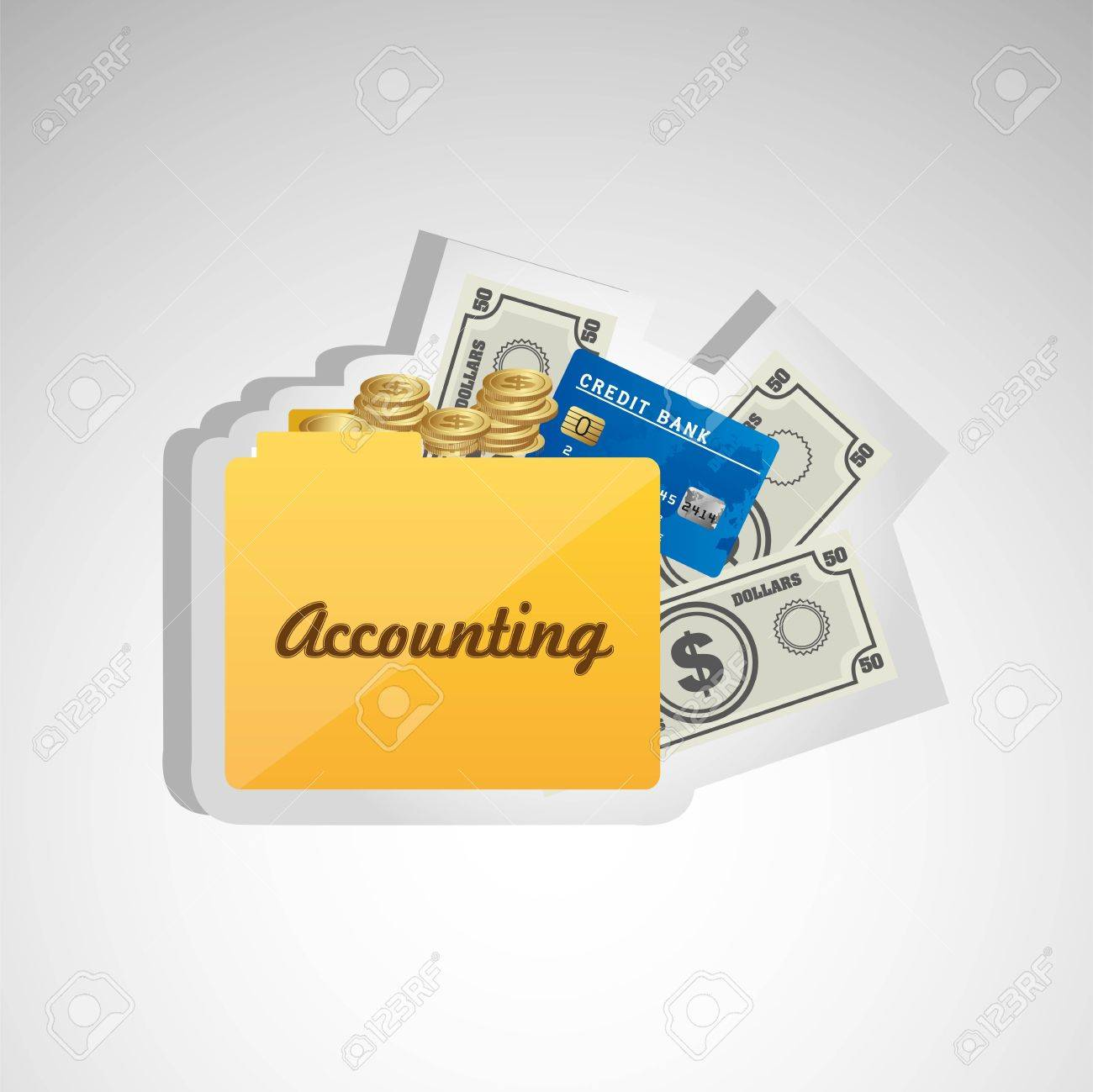 icon of accounting, credit card folder, banknotes and coins, for accounting and finance icon. Stock Vector - 14044232
