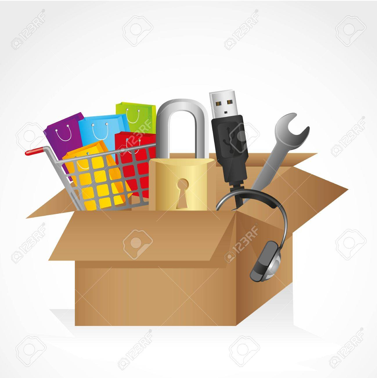 box with icons, contains USB cable, headphones, lock, and shopping cart packages. Stock Vector - 14043880