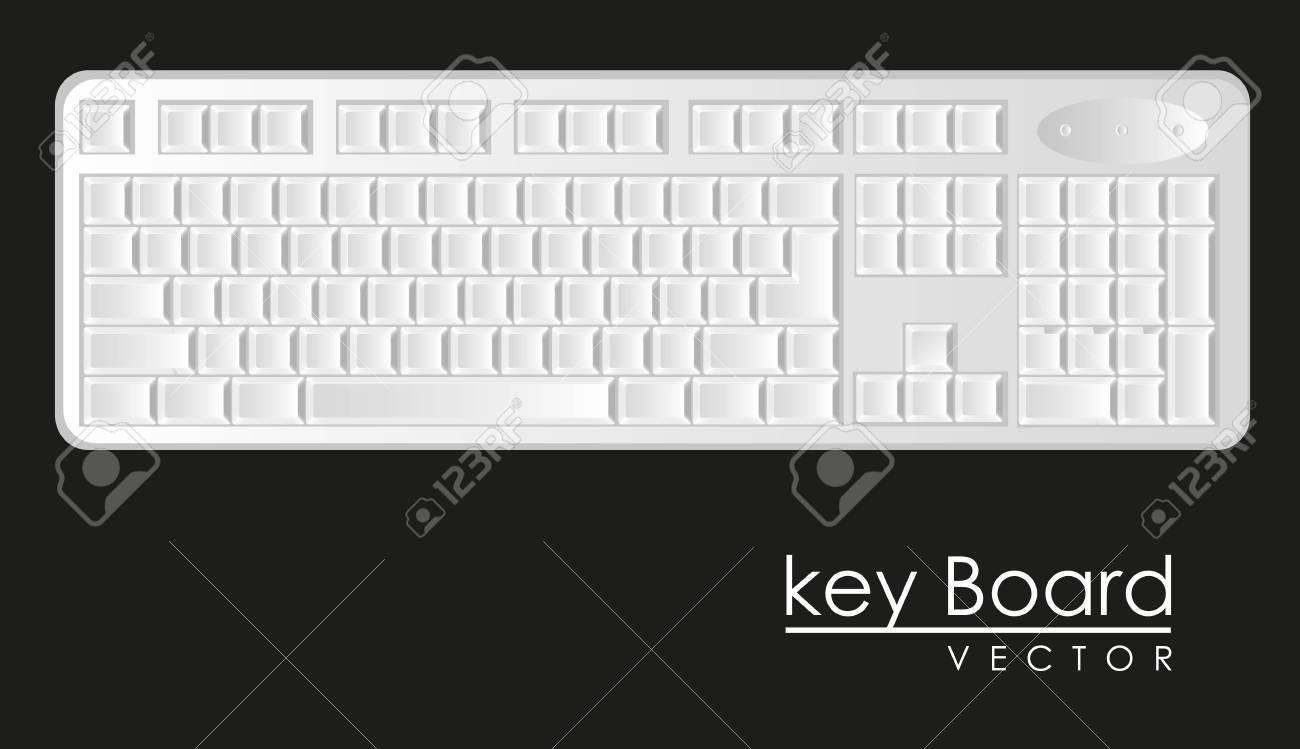 computer keyboard to white with black letters, Stock Vector - 14040833