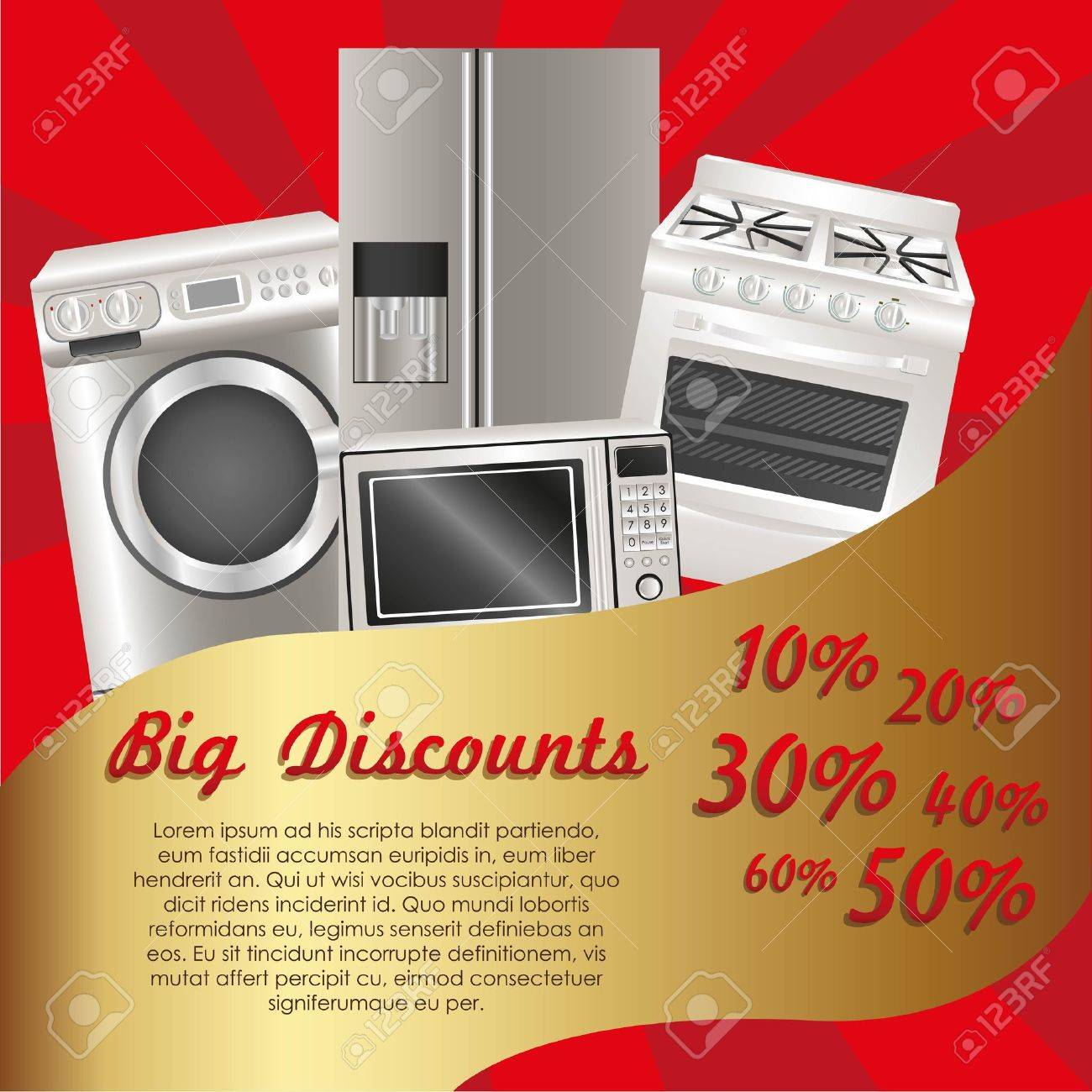 flyer discount appliances contains washing machine stove flyer discount appliances contains washing machine stove microwave and refrigerator stock vector