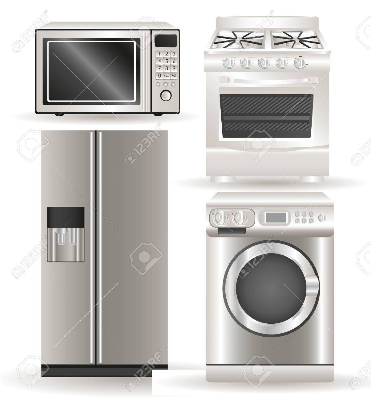 Appliances, contains washing machine, stove, microwave and refrigerator Stock Vector - 14083176